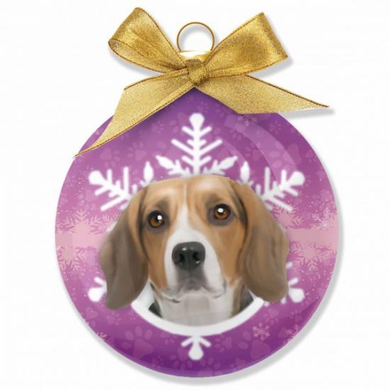 Huisideren kerstballen Beagle hondjes 8 cm