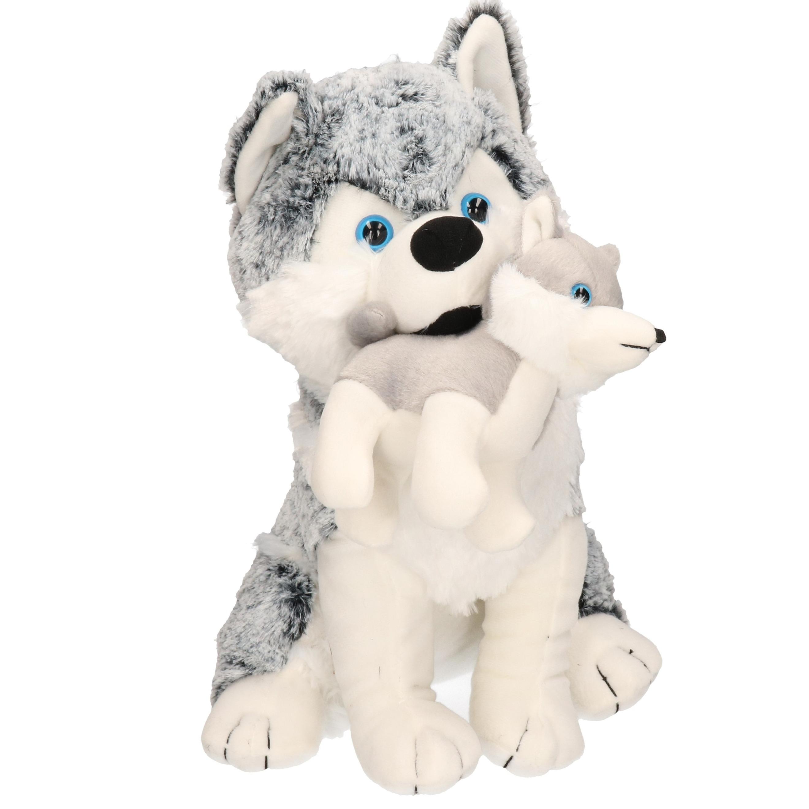 Husky honden knuffels teef en puppy 40 cm knuffeldieren