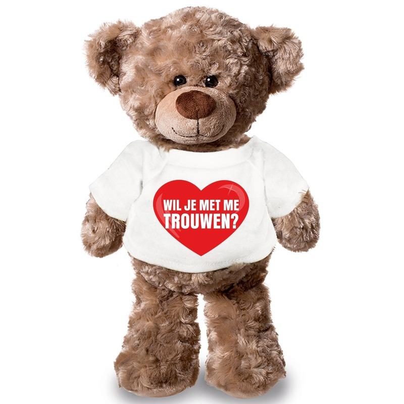 Huwelijksaanzoek knuffelbeer met t-shirt 43 cm