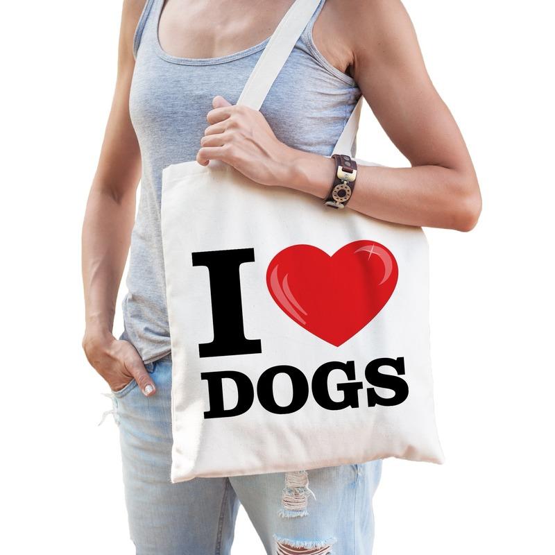 I love dogs katoenen tasje