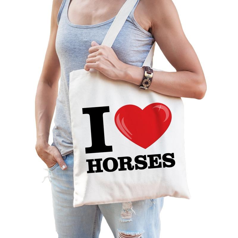 I love horses katoenen tasje