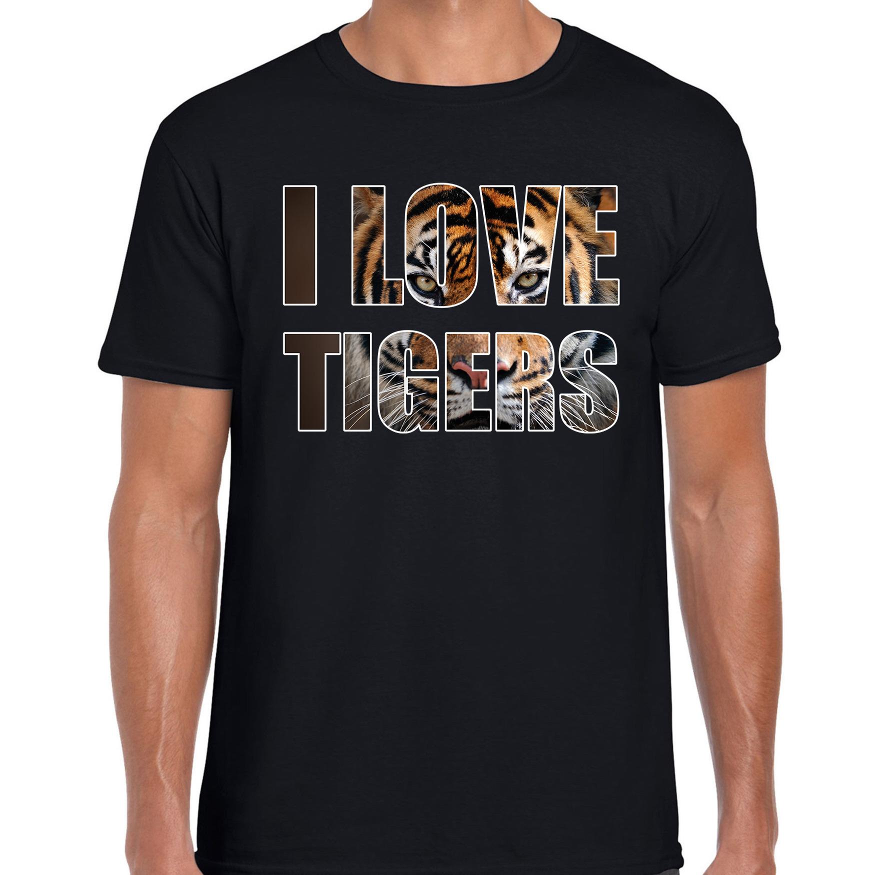 I love tigers - tijgers dieren shirt zwart heren