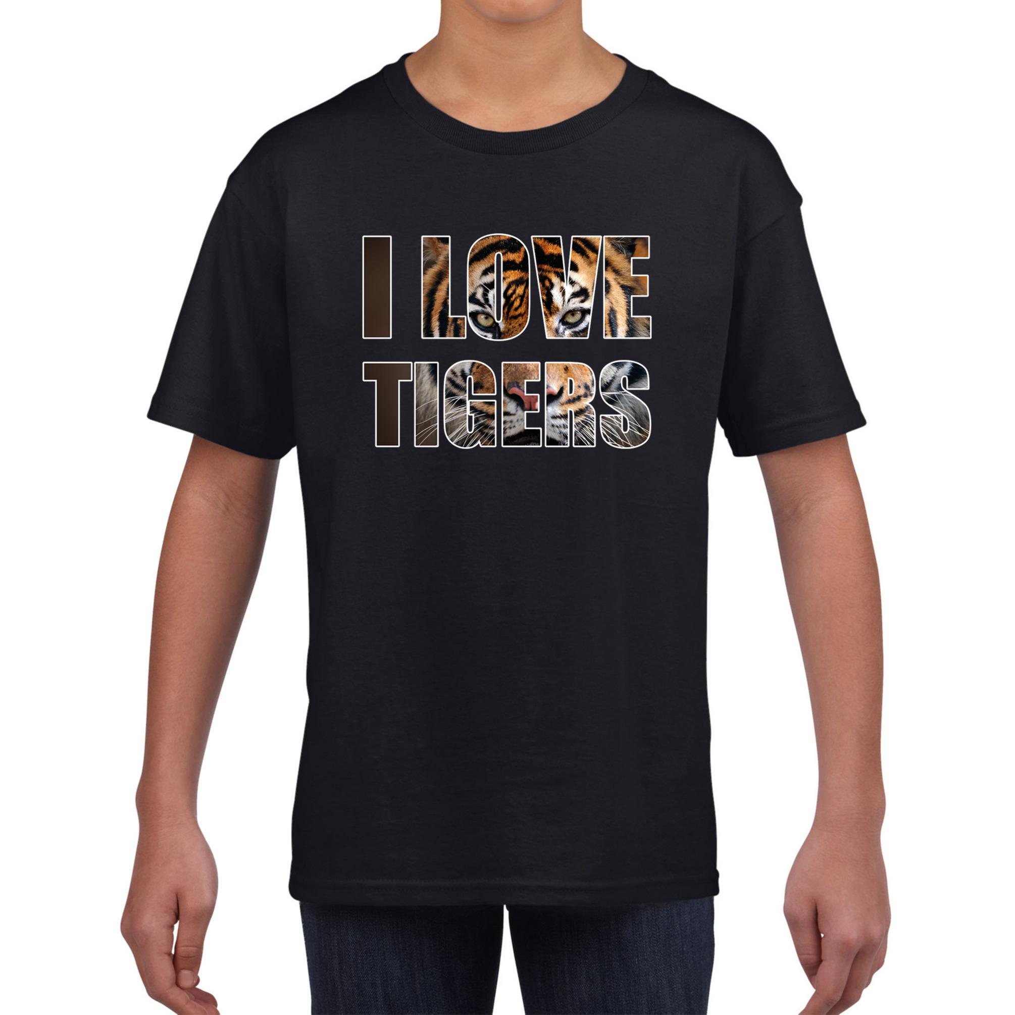 I love tigers - tijgers dieren shirt zwart kids