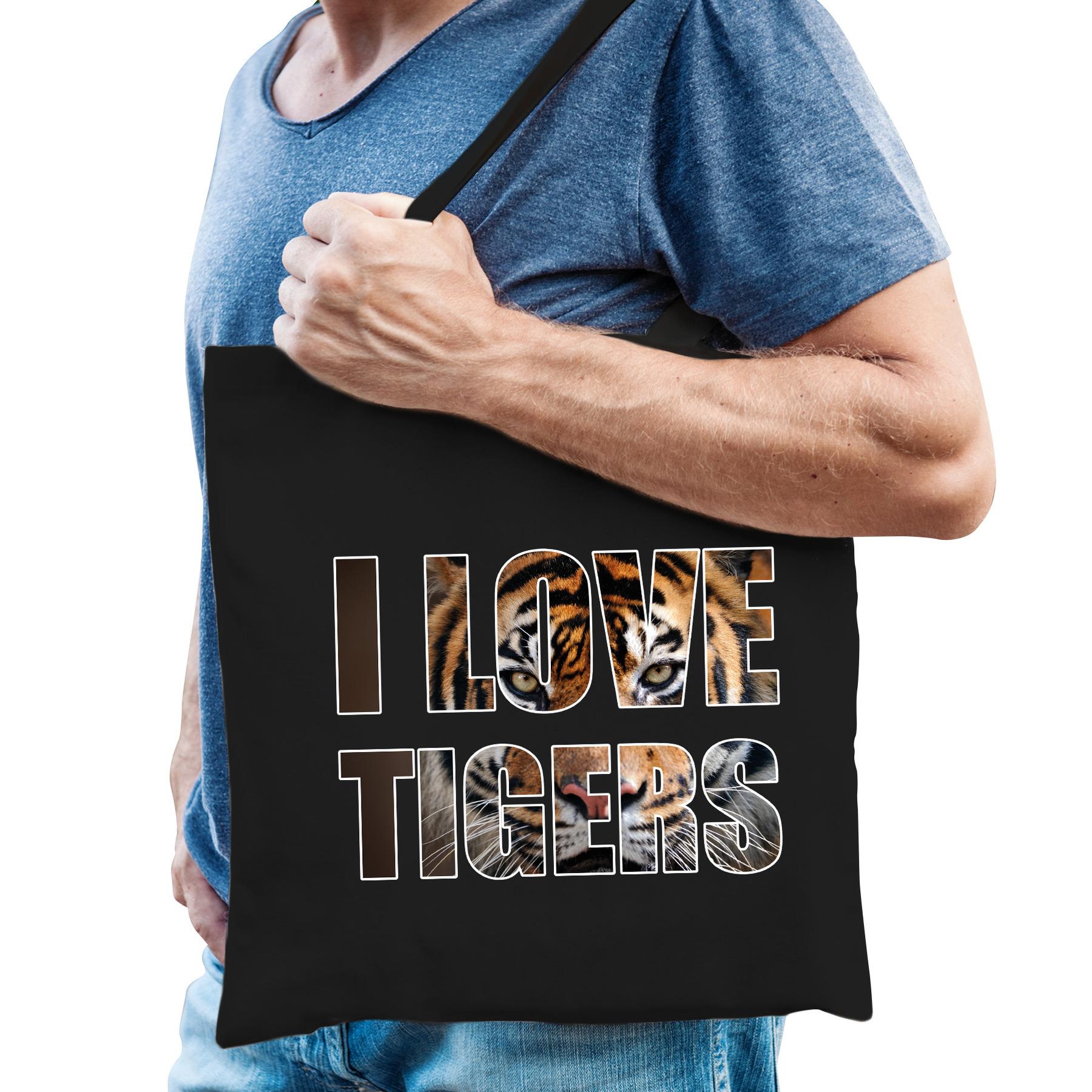 I love tigers - tijgers katoenen kado tasje voor tijger liefhebbers zwart heren