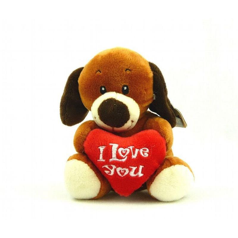 I Love You honden knuffel 14 cm bruin knuffeldieren