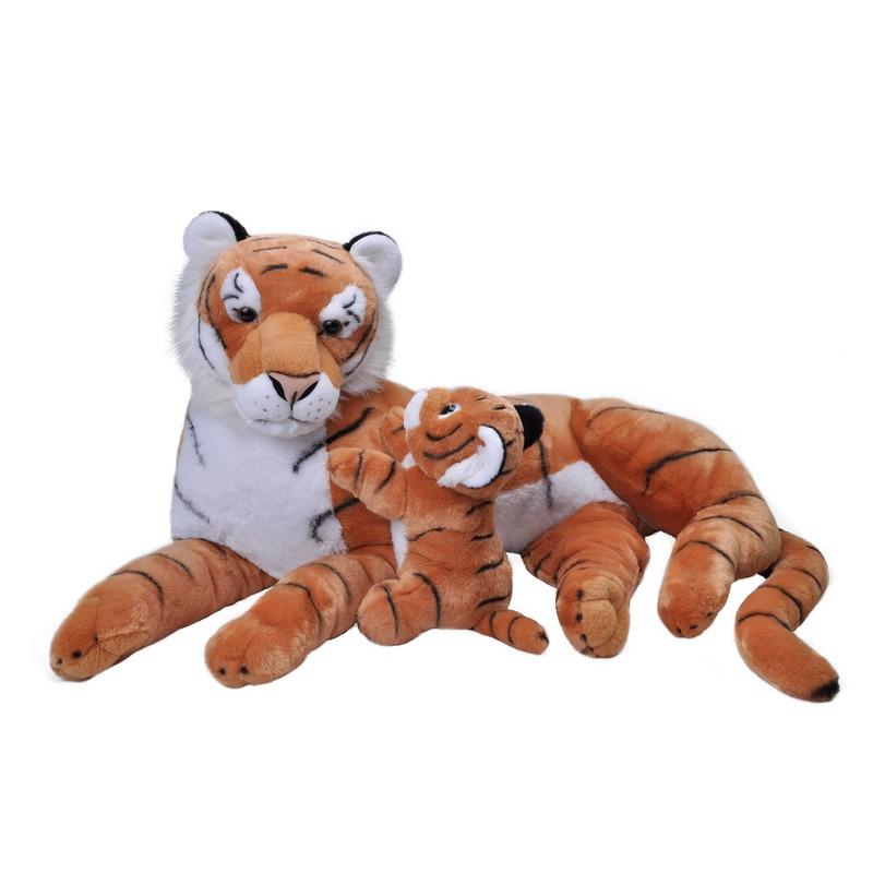 Jumbo knuffel gestreepte tijger met welpje 76 cm knuffeldieren