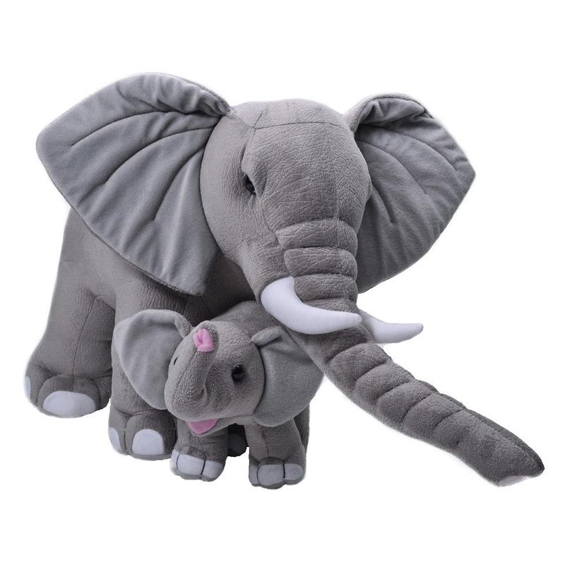 Jumbo knuffel grijze olifant met kalfje 76 cm knuffeldieren