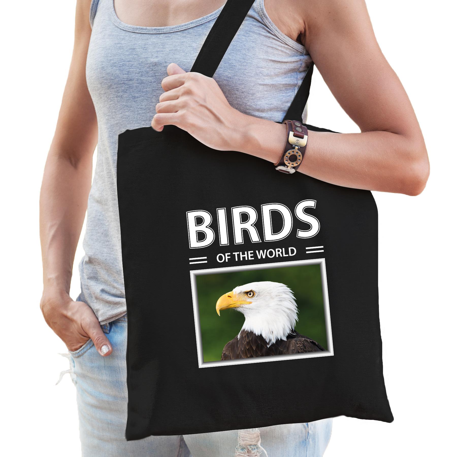 Katoenen tasje Amerikaanse zeearenden zwart - birds of the world Amerikaanse zeearend cadeau tas