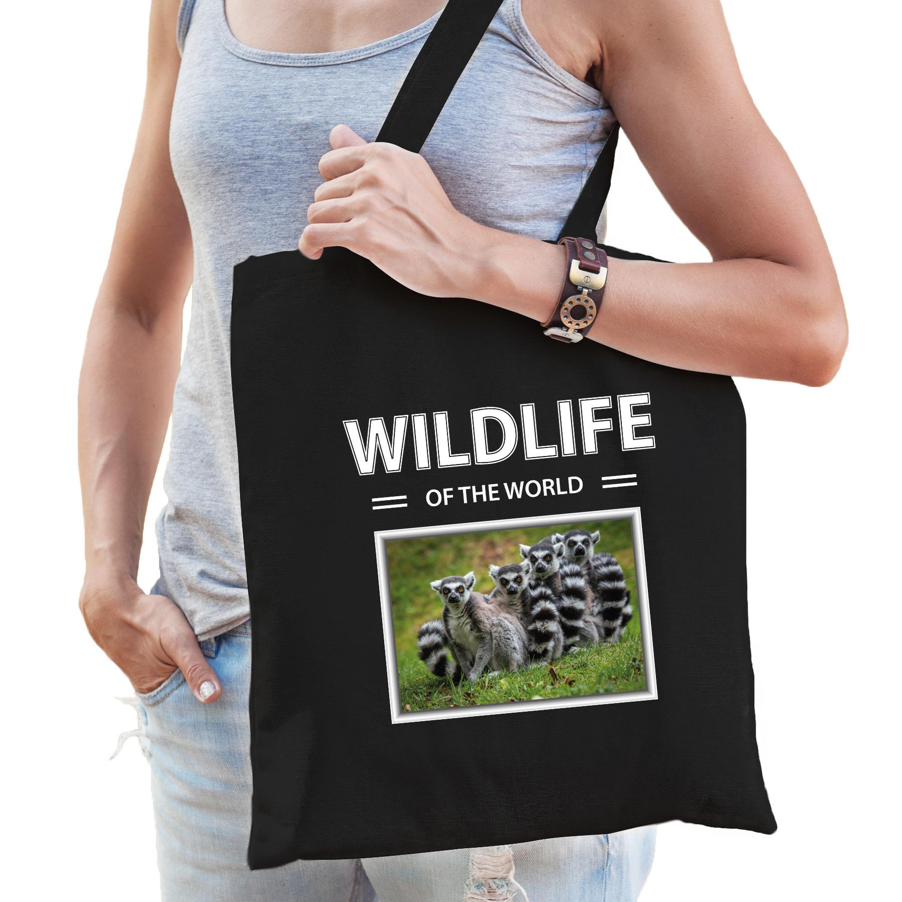 Katoenen tasje Apen zwart - wildlife of the world Ringstaart maki cadeau tas