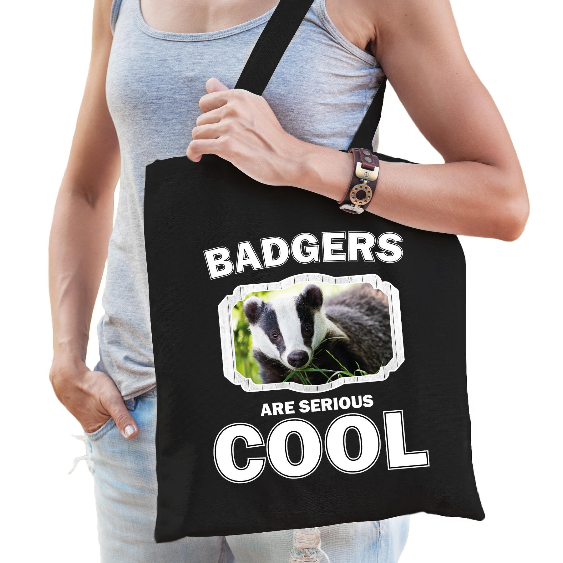 Katoenen tasje badgers are serious cool zwart - dassen/ das cadeau tas