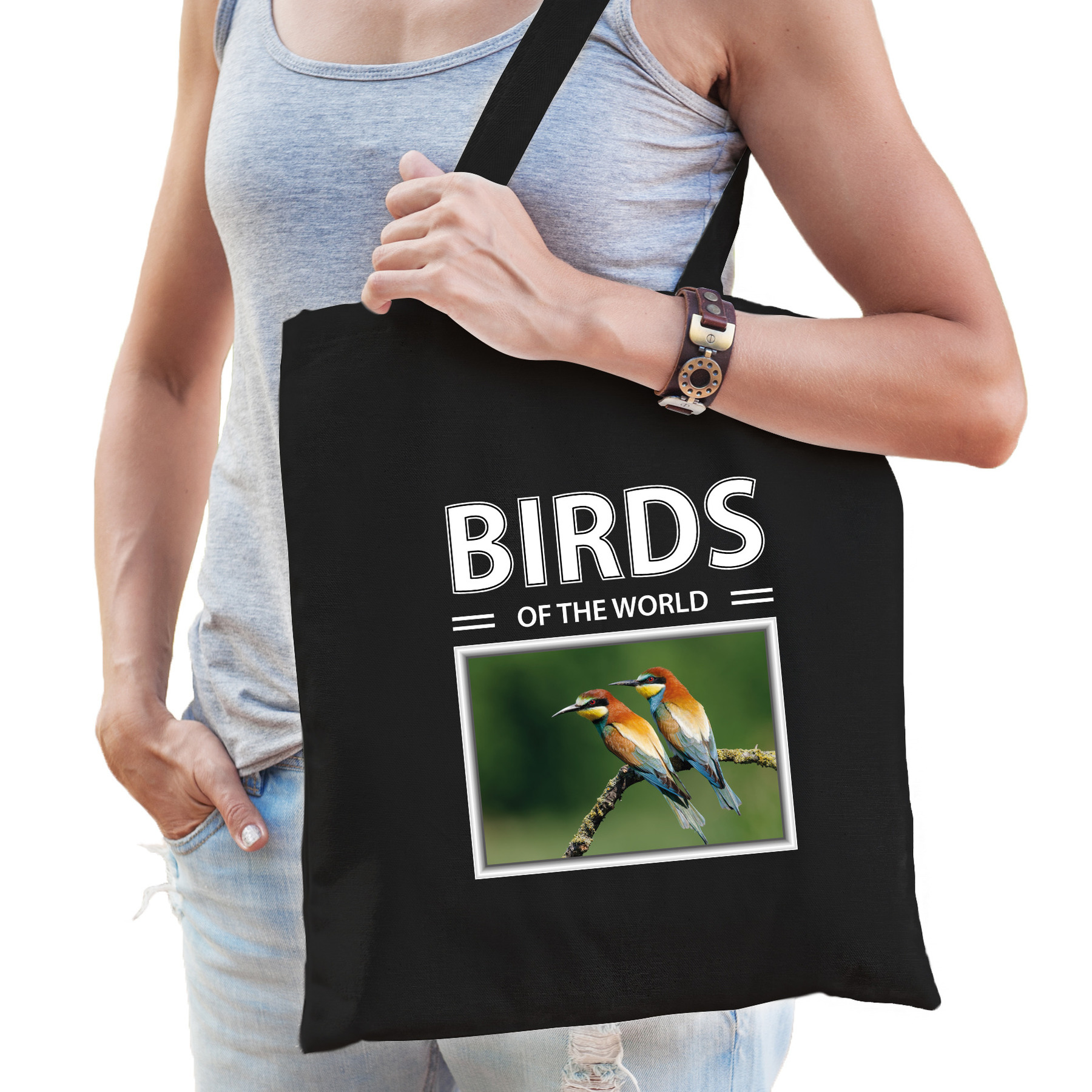 Katoenen tasje Bijeneter vogels zwart - birds of the world Bijeneter cadeau tas