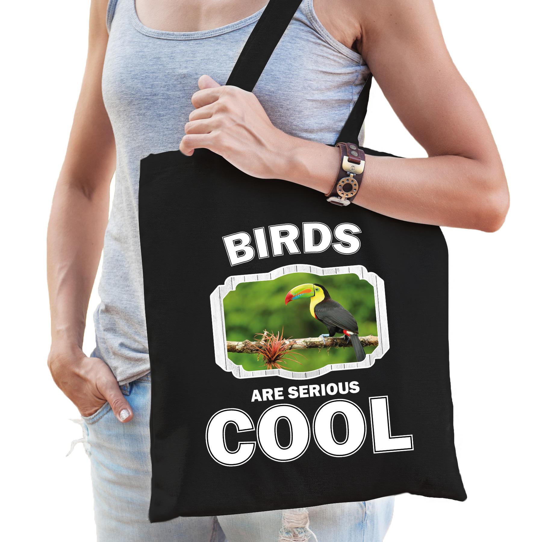 Katoenen tasje birds are serious cool zwart - toekans/ toekan cadeau tas