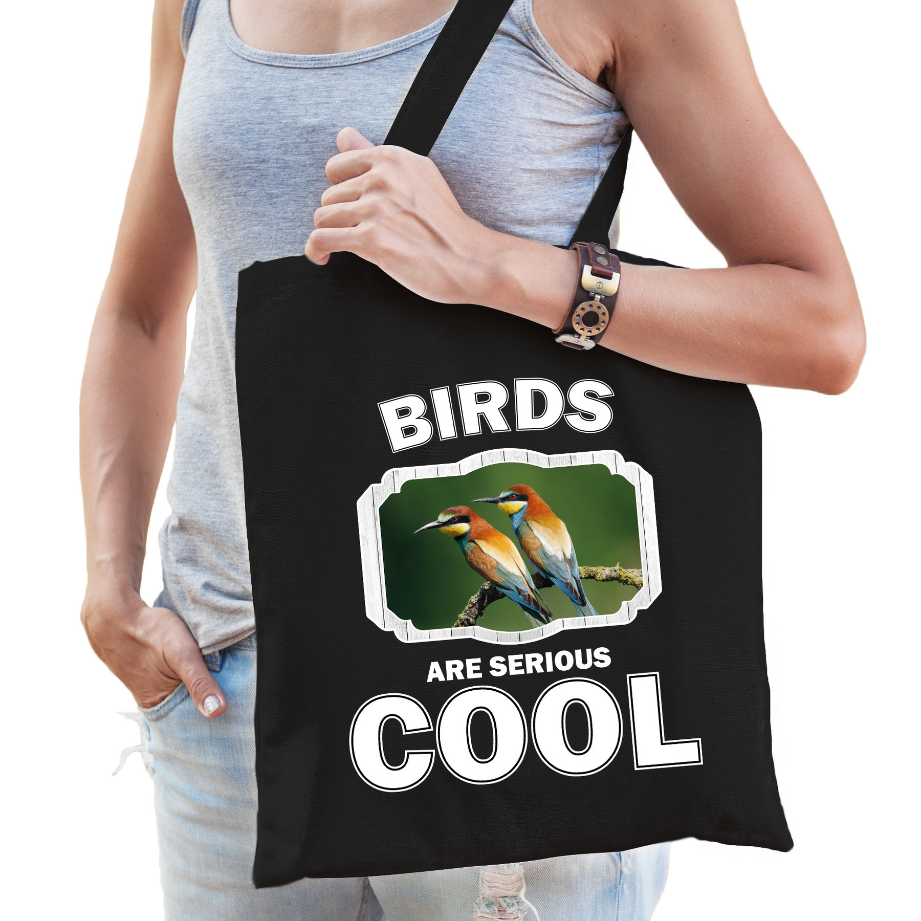 Katoenen tasje birds are serious cool zwart - vogels/ bijeneter vogel cadeau tas