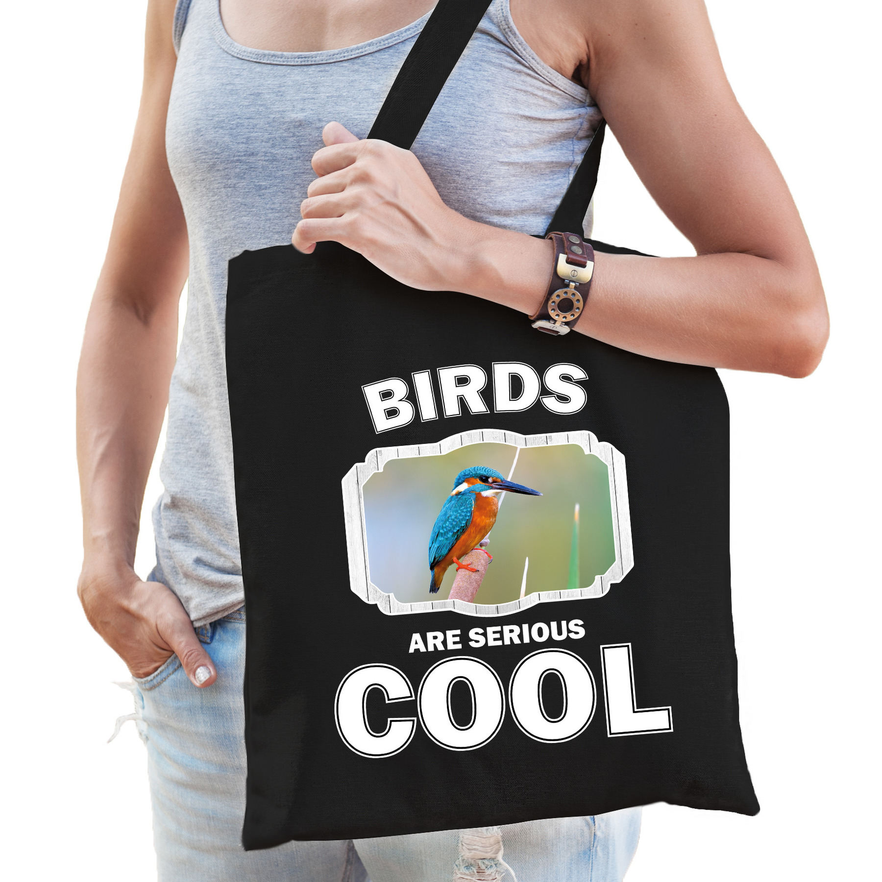 Katoenen tasje birds are serious cool zwart - vogels/ ijsvogel cadeau tas
