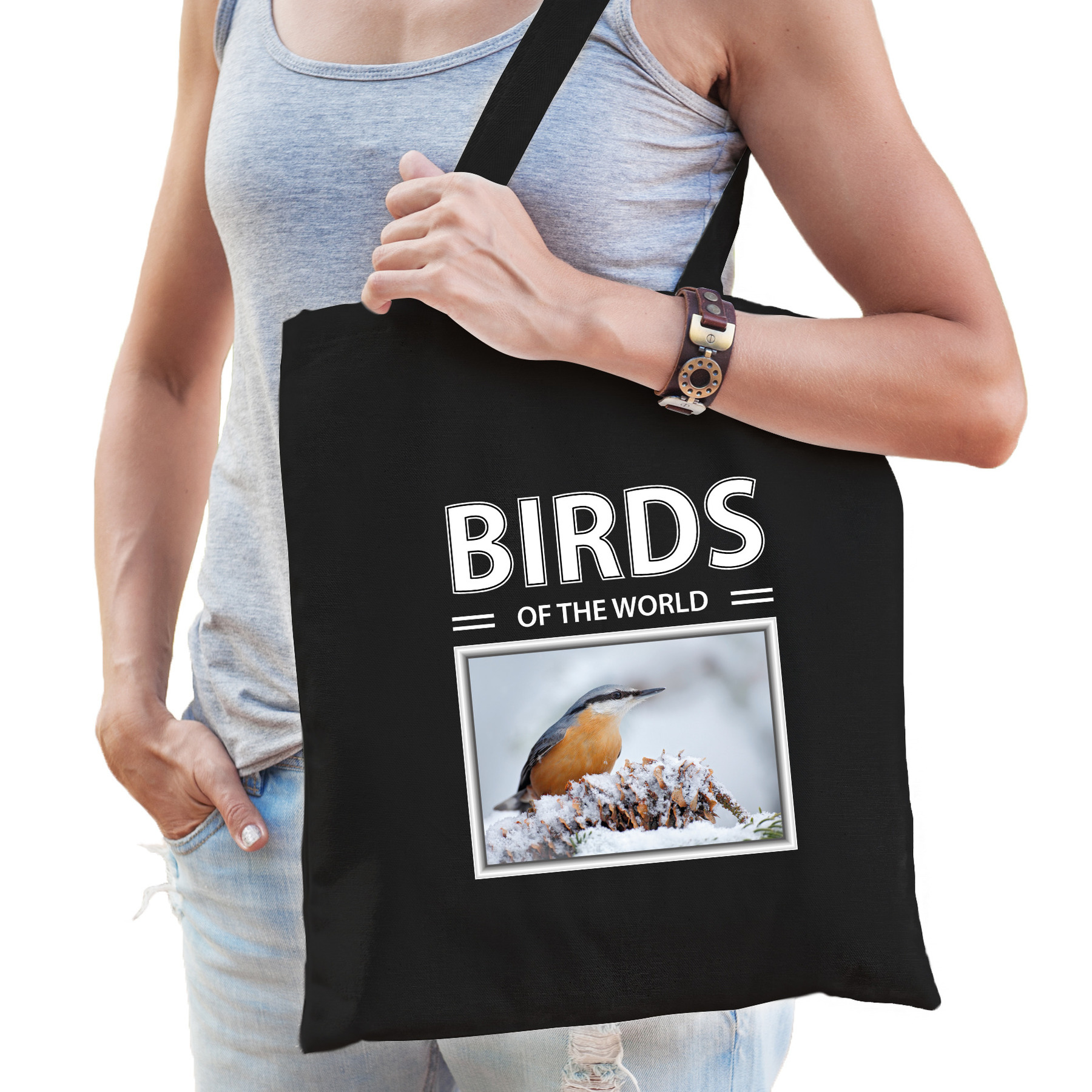 Katoenen tasje Boomklever vogels zwart - birds of the world Boomklever cadeau tas