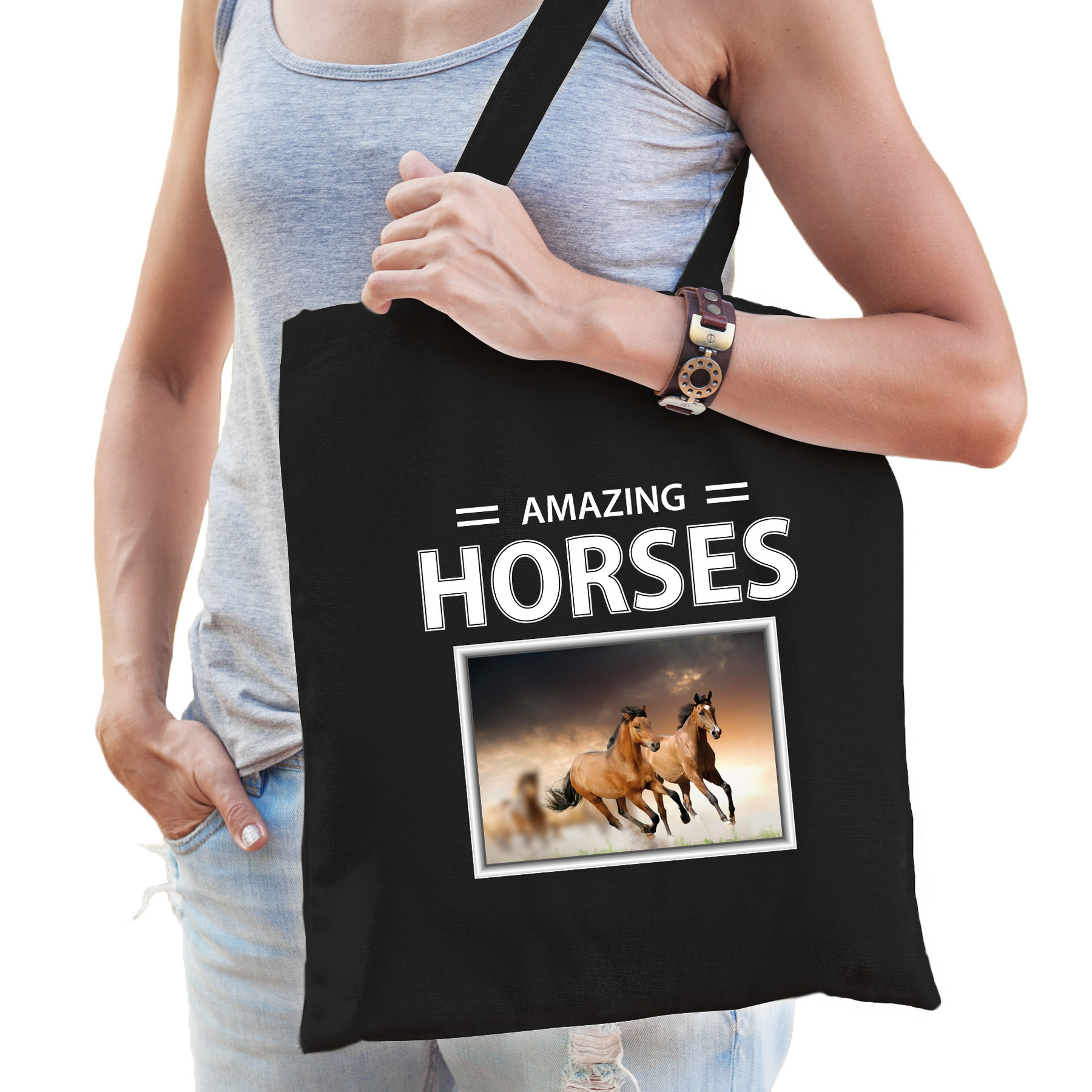 Katoenen tasje Bruine paarden zwart - amazing horses Bruin paard cadeau tas