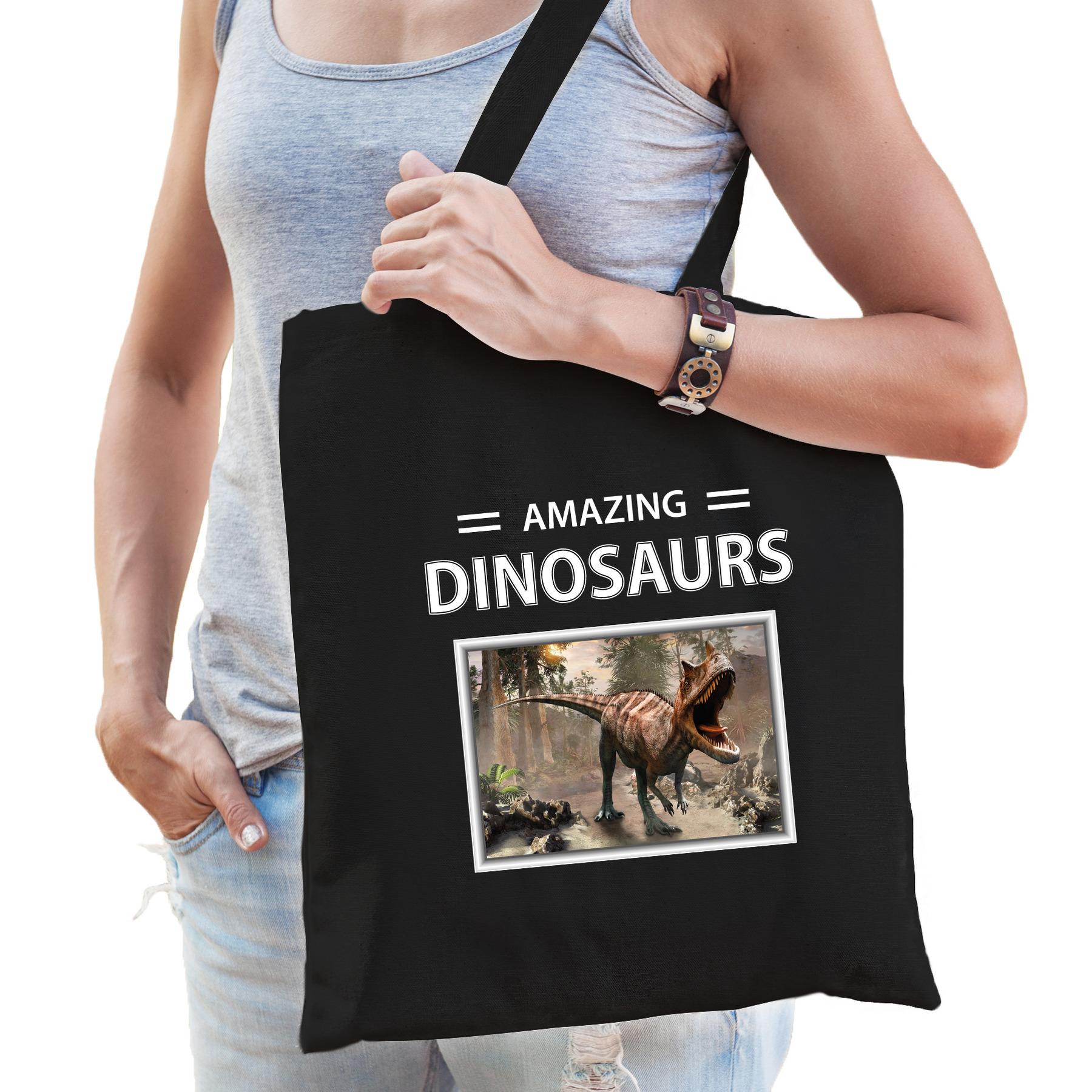 Katoenen tasje Carnotaurus dinosaurus zwart - amazing dinosaurs Carnotaurus dino cadeau tas