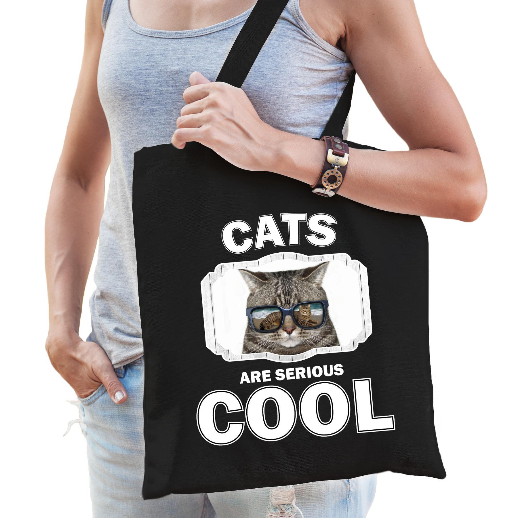 Katoenen tasje cats are serious cool zwart - katten/ coole poes cadeau tas