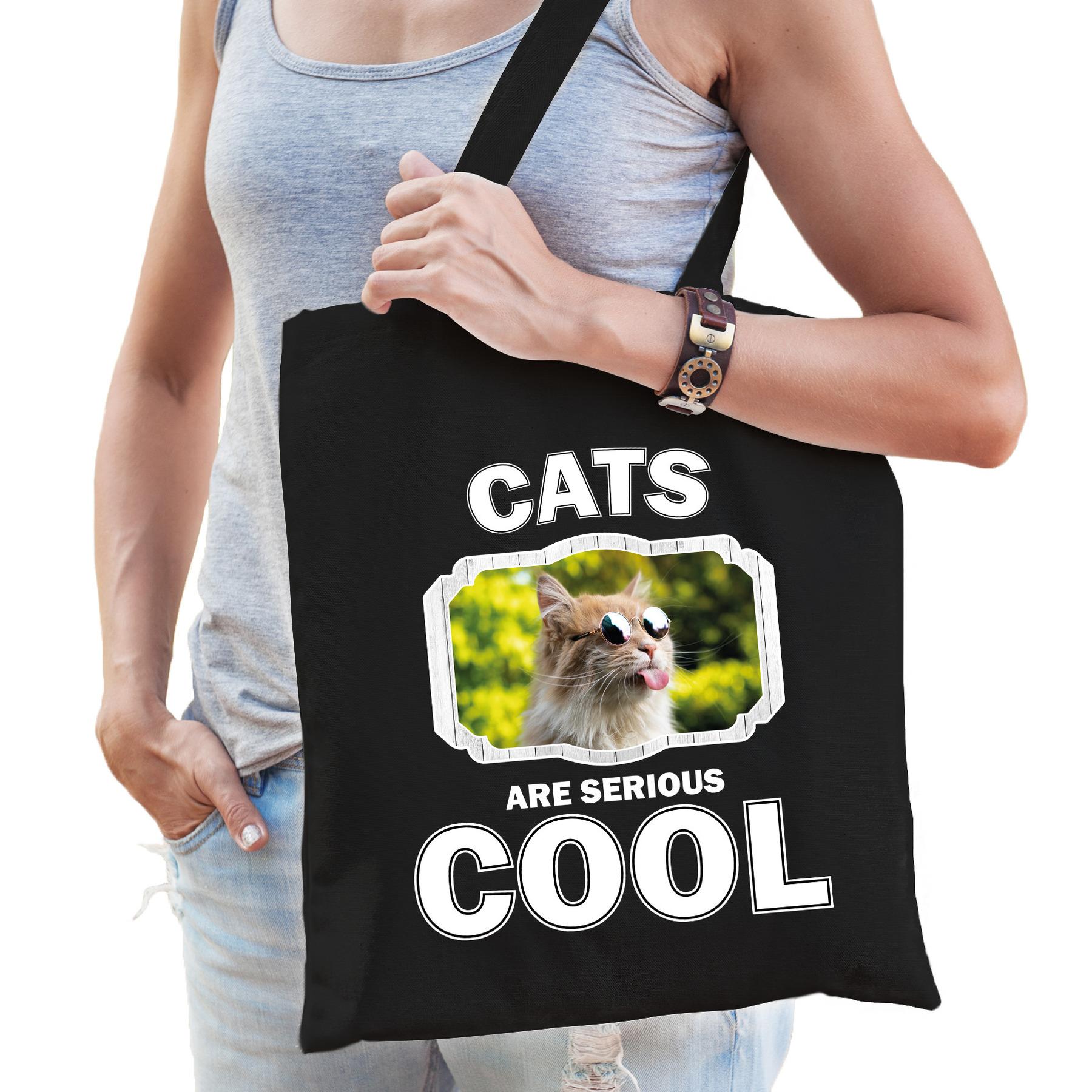 Katoenen tasje cats are serious cool zwart - katten/ gekke poes cadeau tas