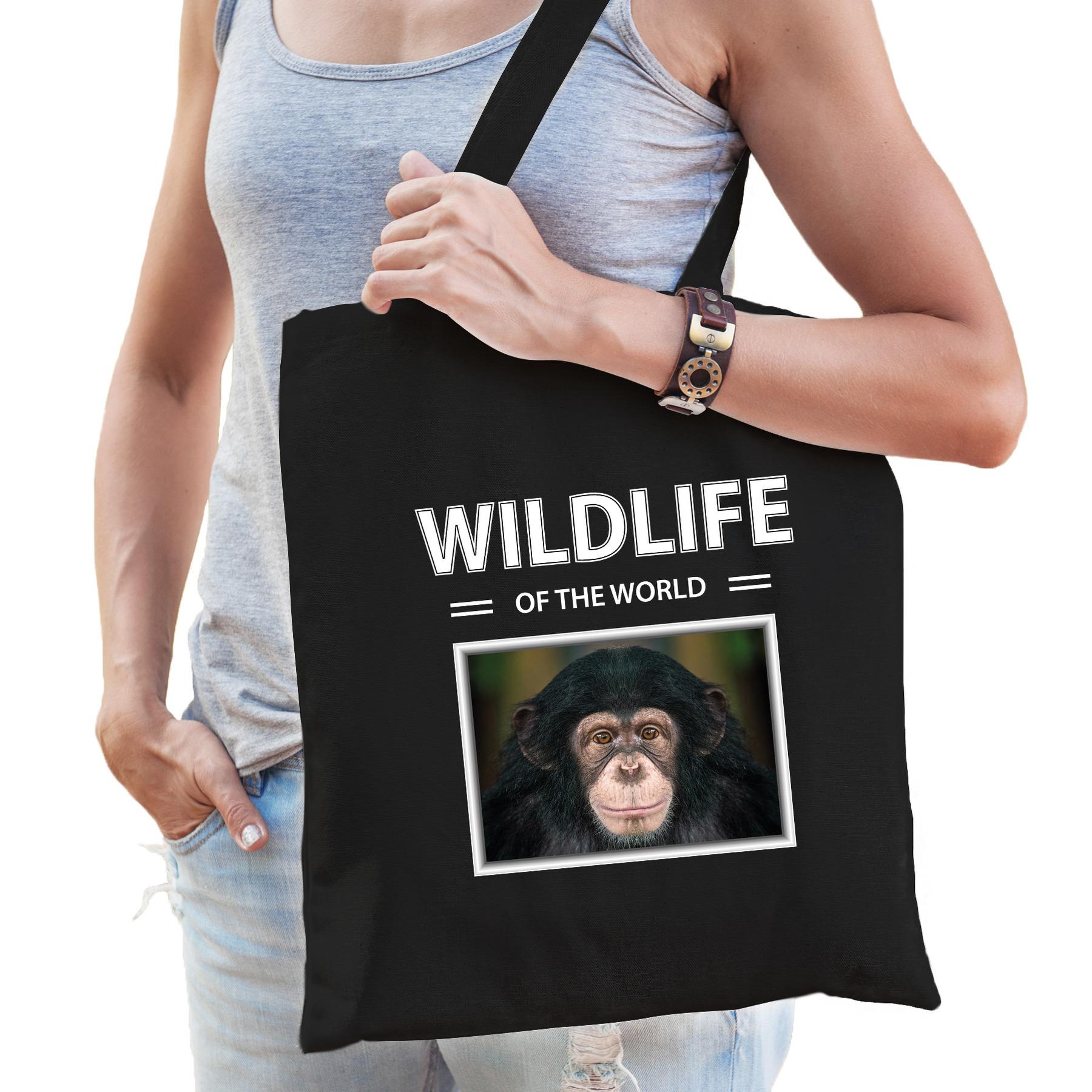 Katoenen tasje Chimpansee apen zwart - wildlife of the world Aap cadeau tas