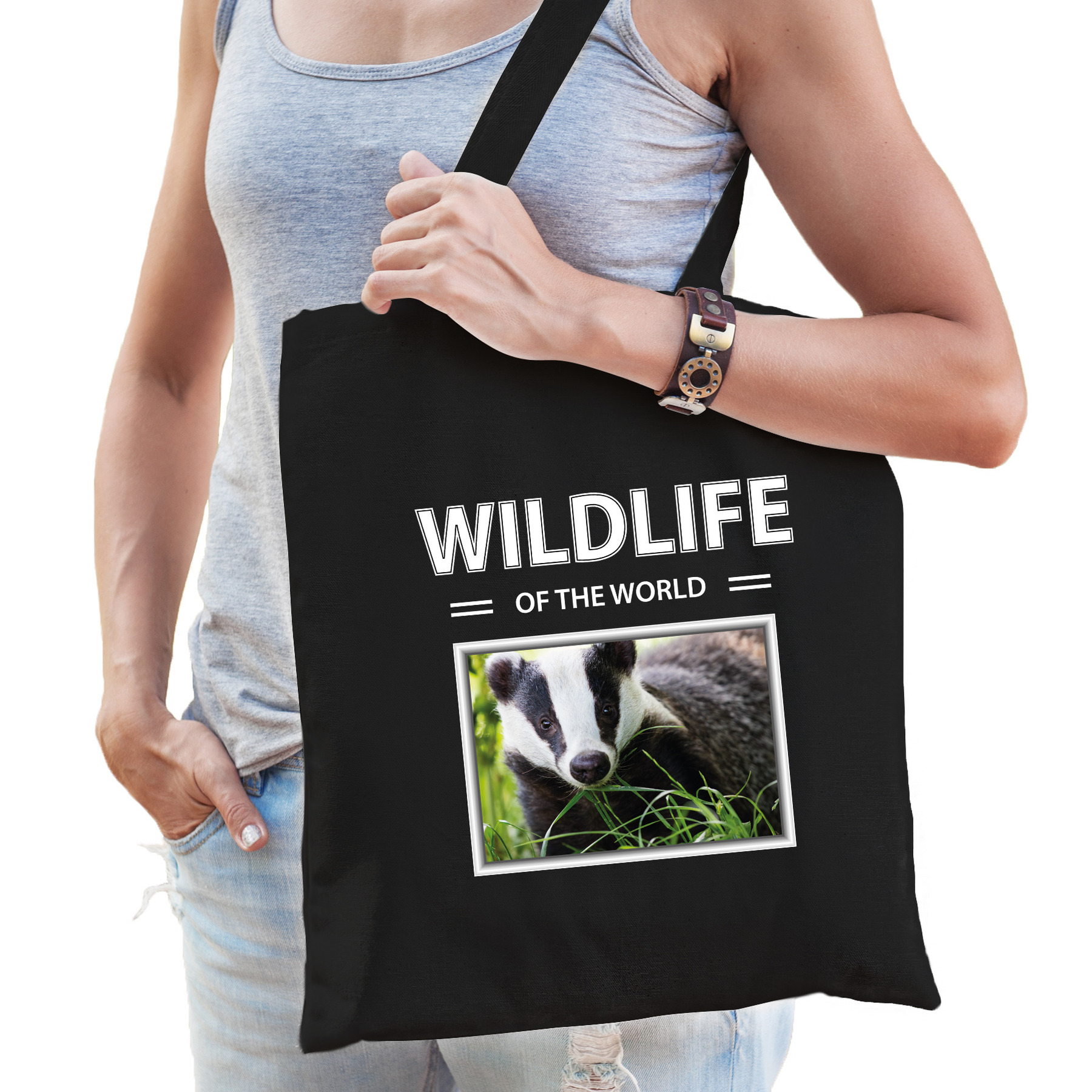 Katoenen tasje Dassen zwart - wildlife of the world Das cadeau tas