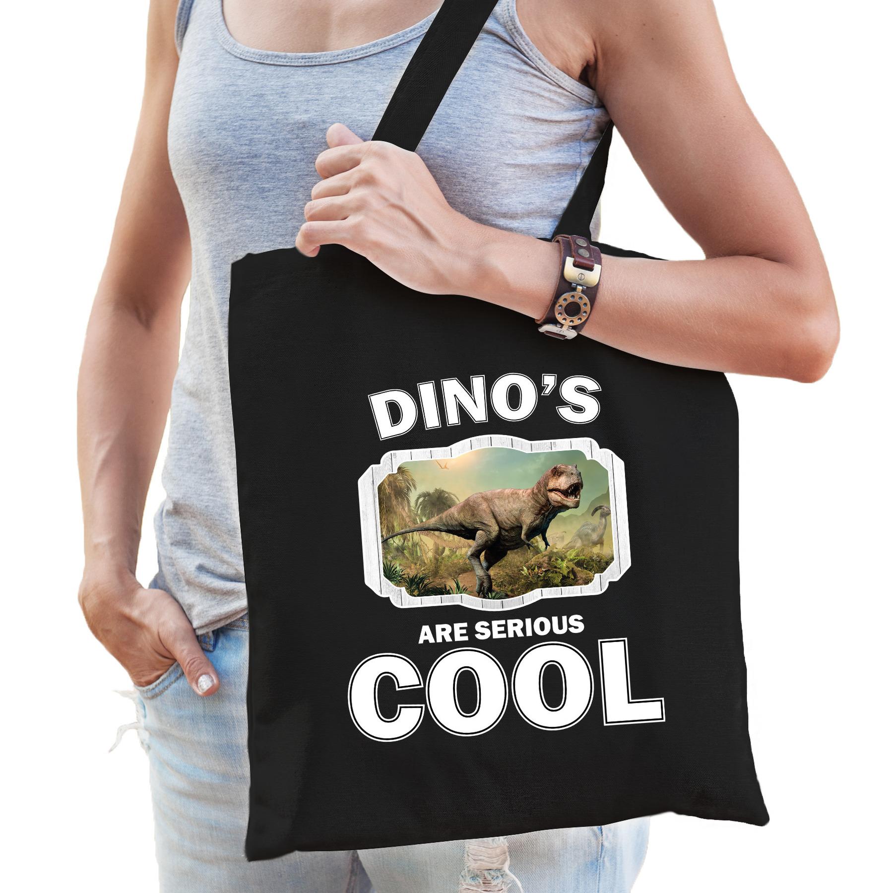 Katoenen tasje dinosaurs are serious cool zwart - dinosaurussen/ stoere t-rex dinosaurus cadeau tas