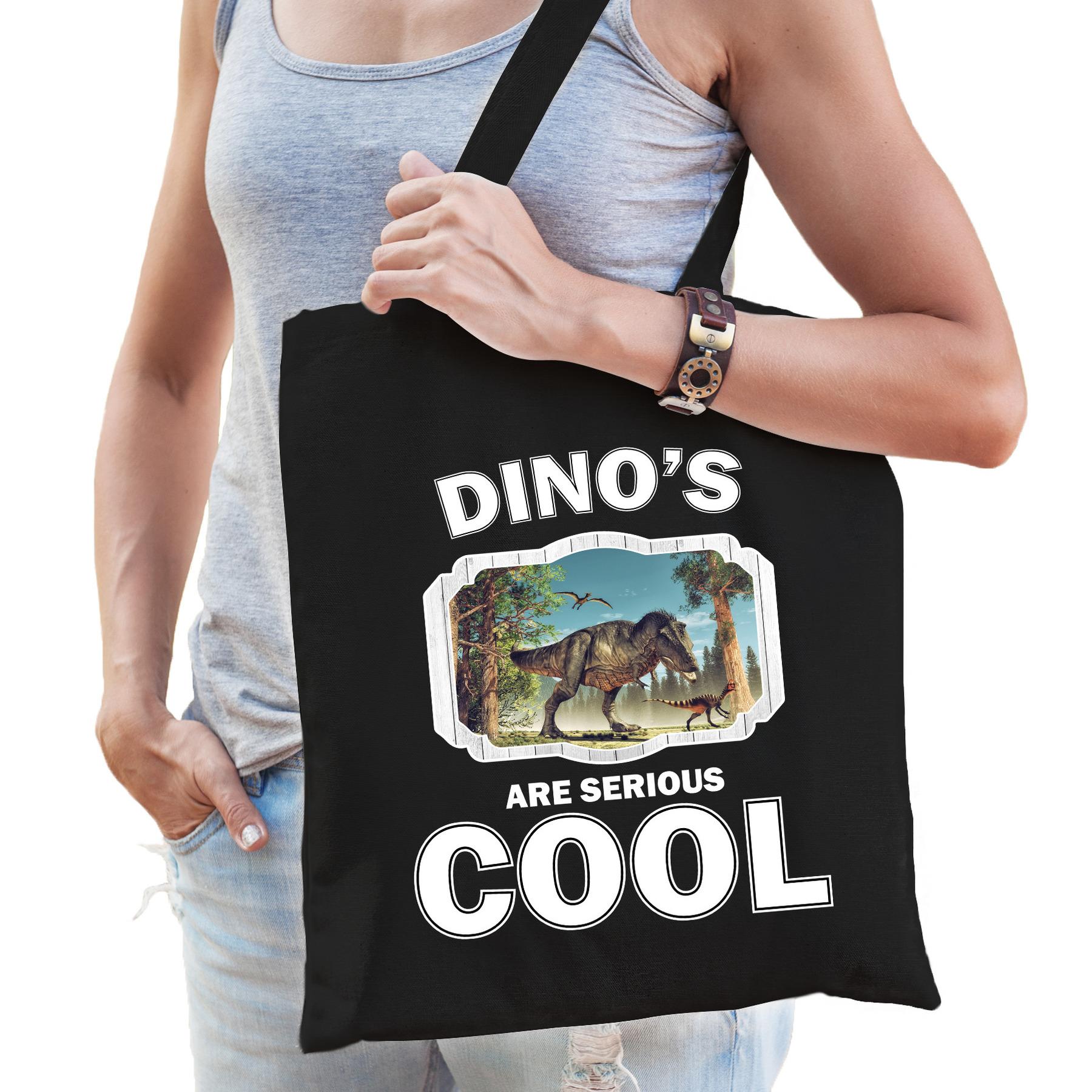 Katoenen tasje dinosaurs are serious cool zwart - dinosaurussen/ t-rex dinosaurus cadeau tas