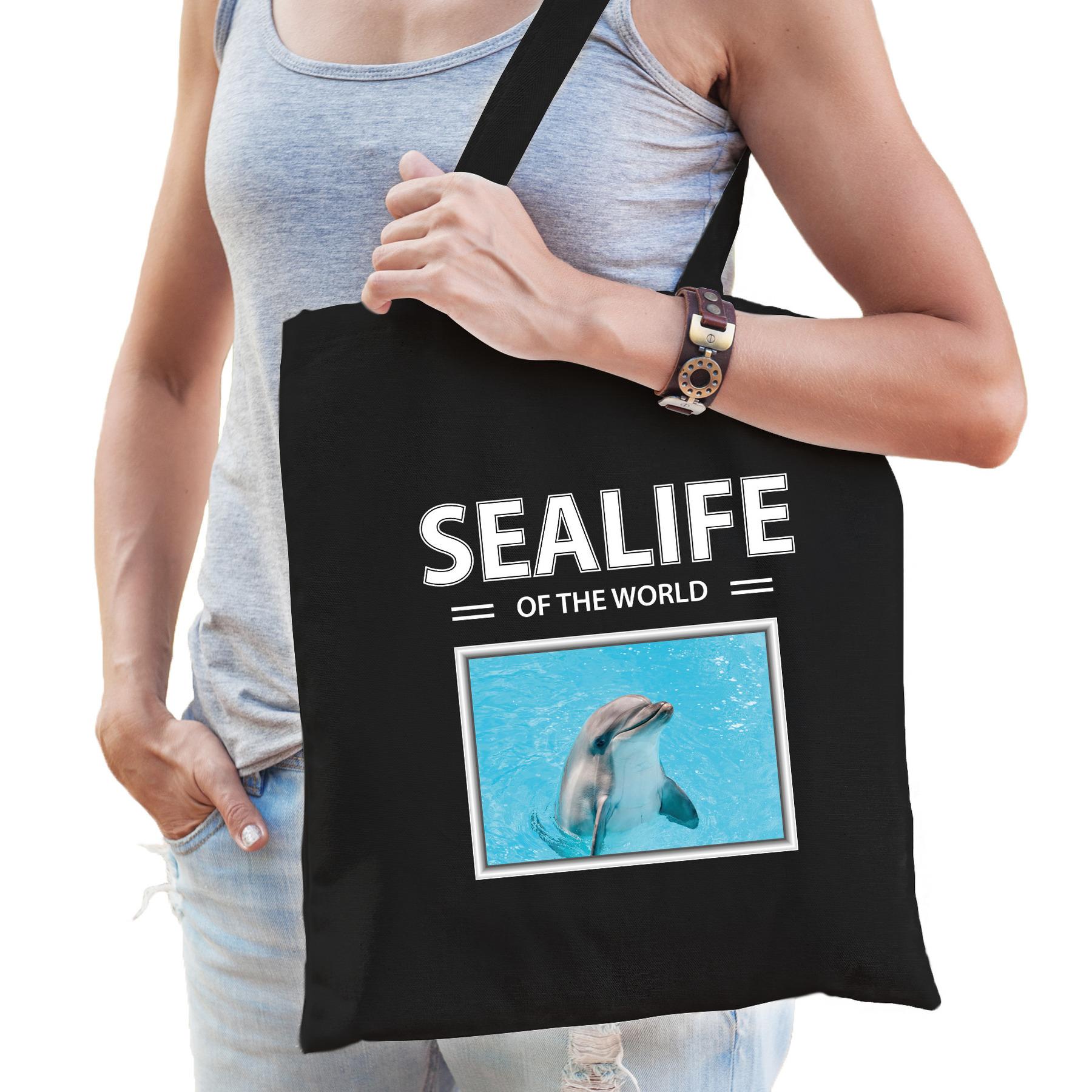 Katoenen tasje dolfijnen zwart - sealife of the world dolfijn cadeau tas