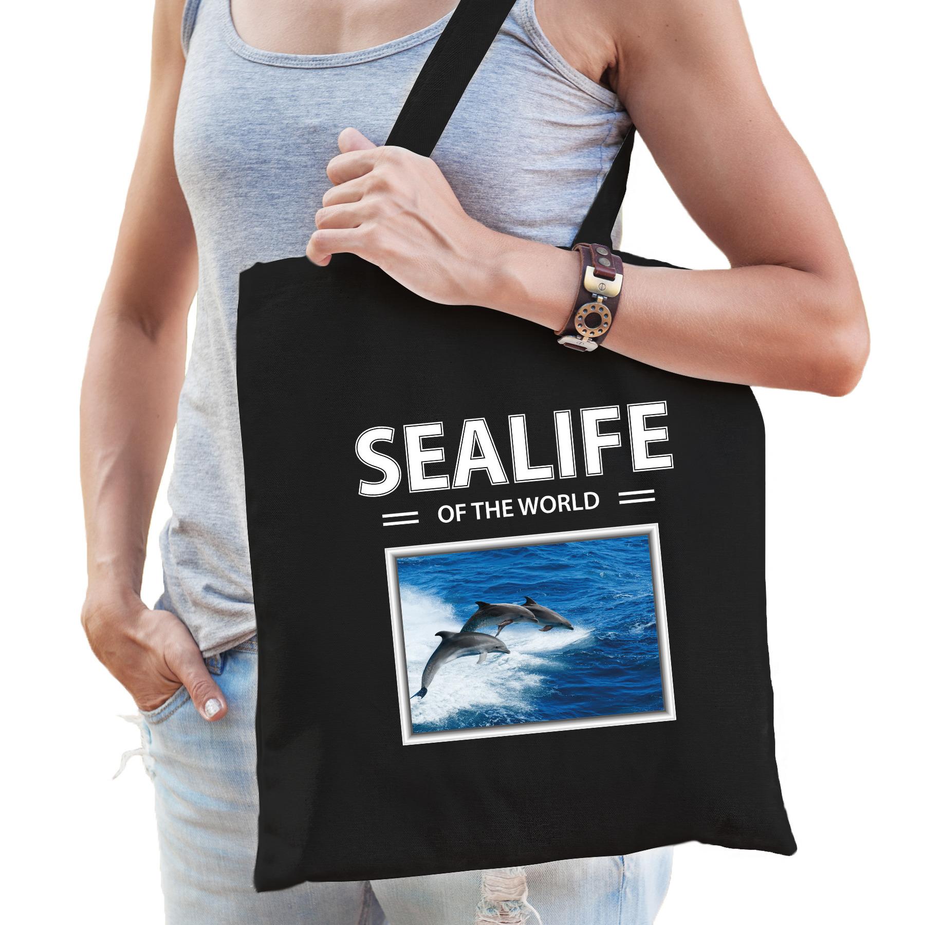 Katoenen tasje Dolfijnen zwart - sealife of the world Dolfijnen cadeau tas