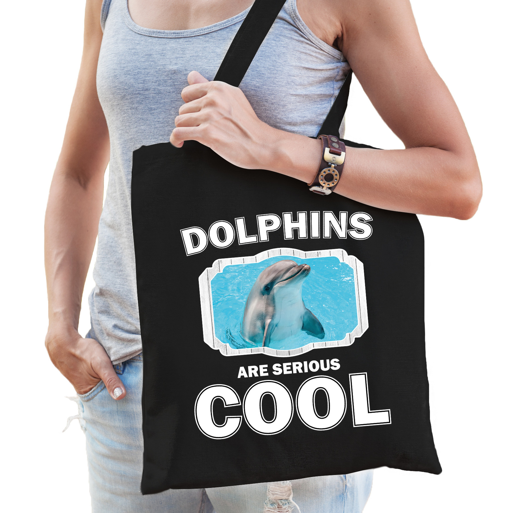 Katoenen tasje dolphins are serious cool zwart - dolfijnen/ dolfijn cadeau tas