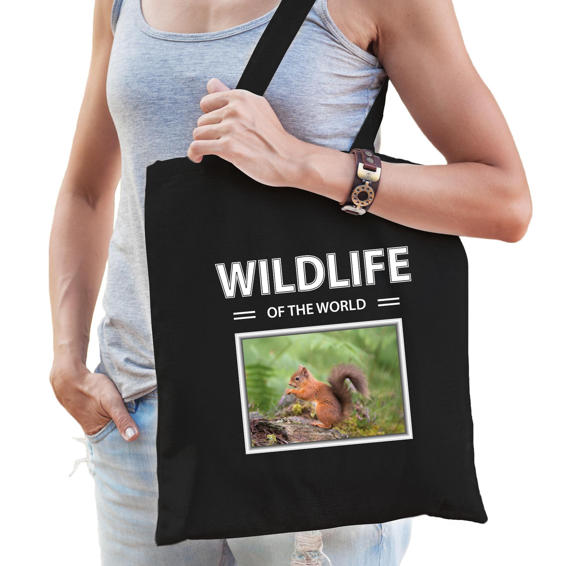Katoenen tasje Eekhoorns zwart - wildlife of the world Eekhoorn cadeau tas
