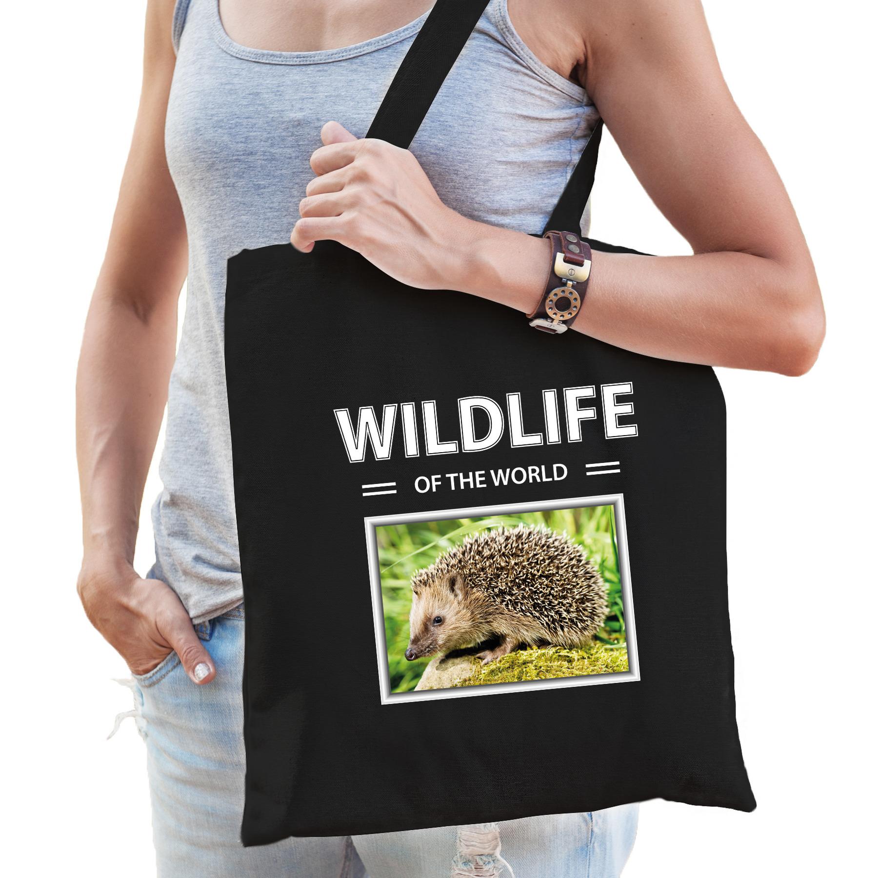 Katoenen tasje Egels zwart - wildlife of the world Egel cadeau tas