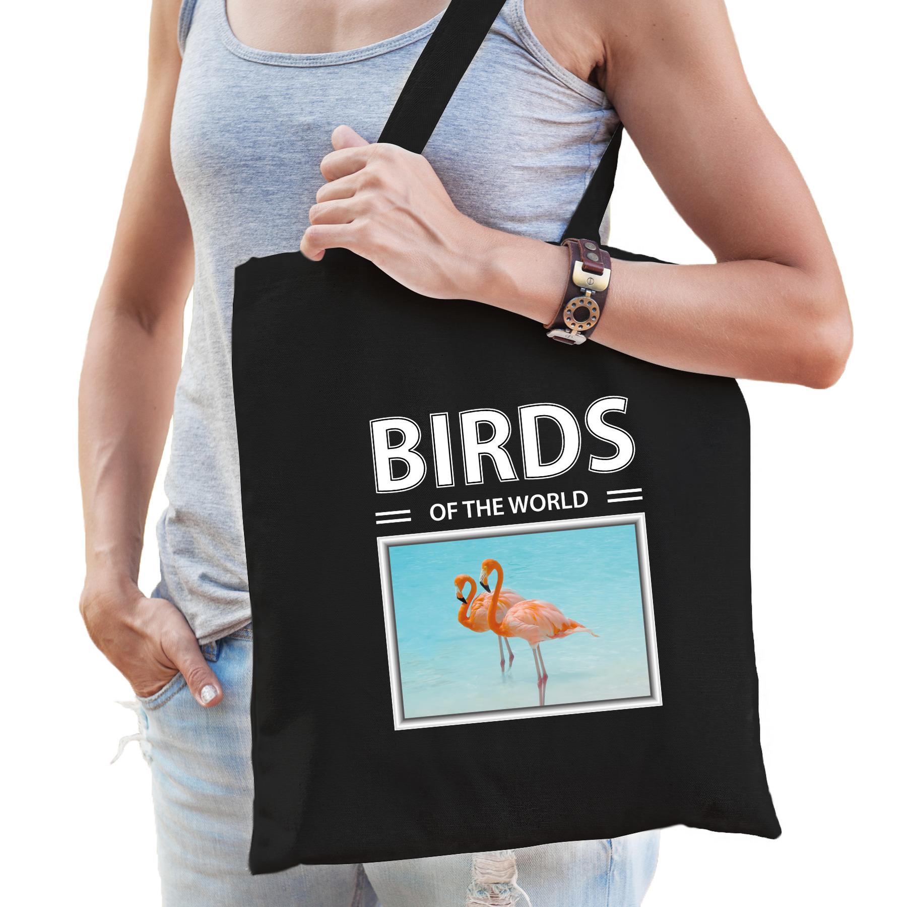 Katoenen tasje Flamingos zwart - birds of the world Flamingo cadeau tas