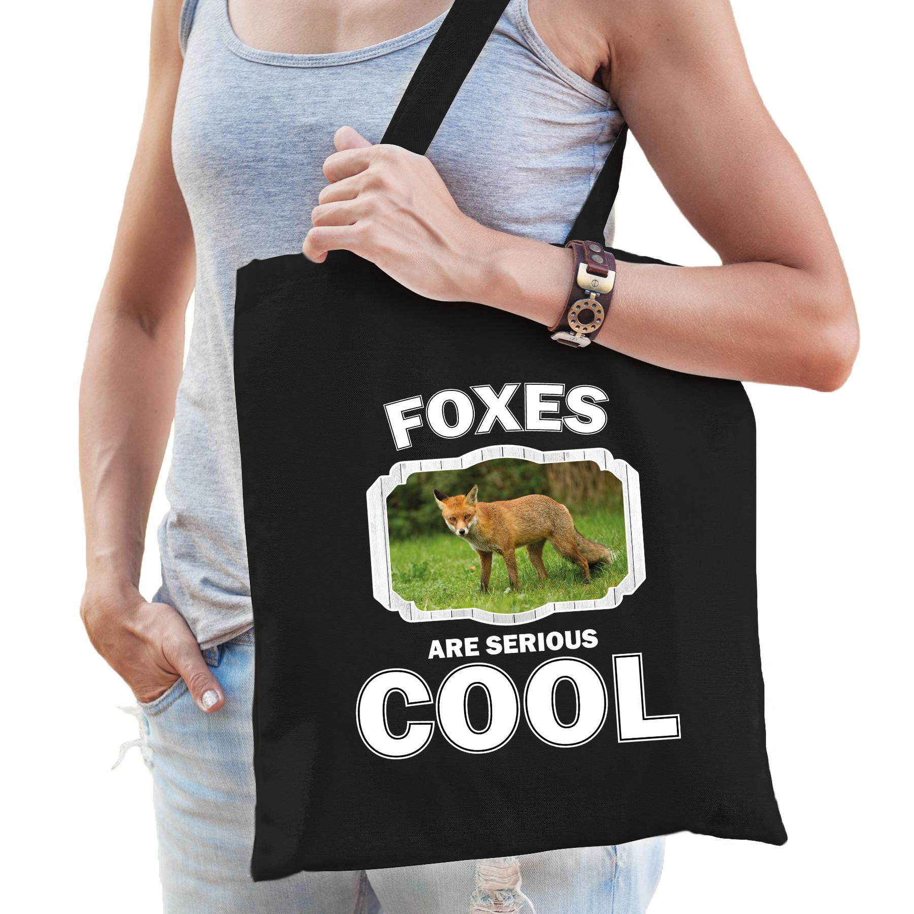 Katoenen tasje foxes are serious cool zwart - vossen/ bruine vos cadeau tas