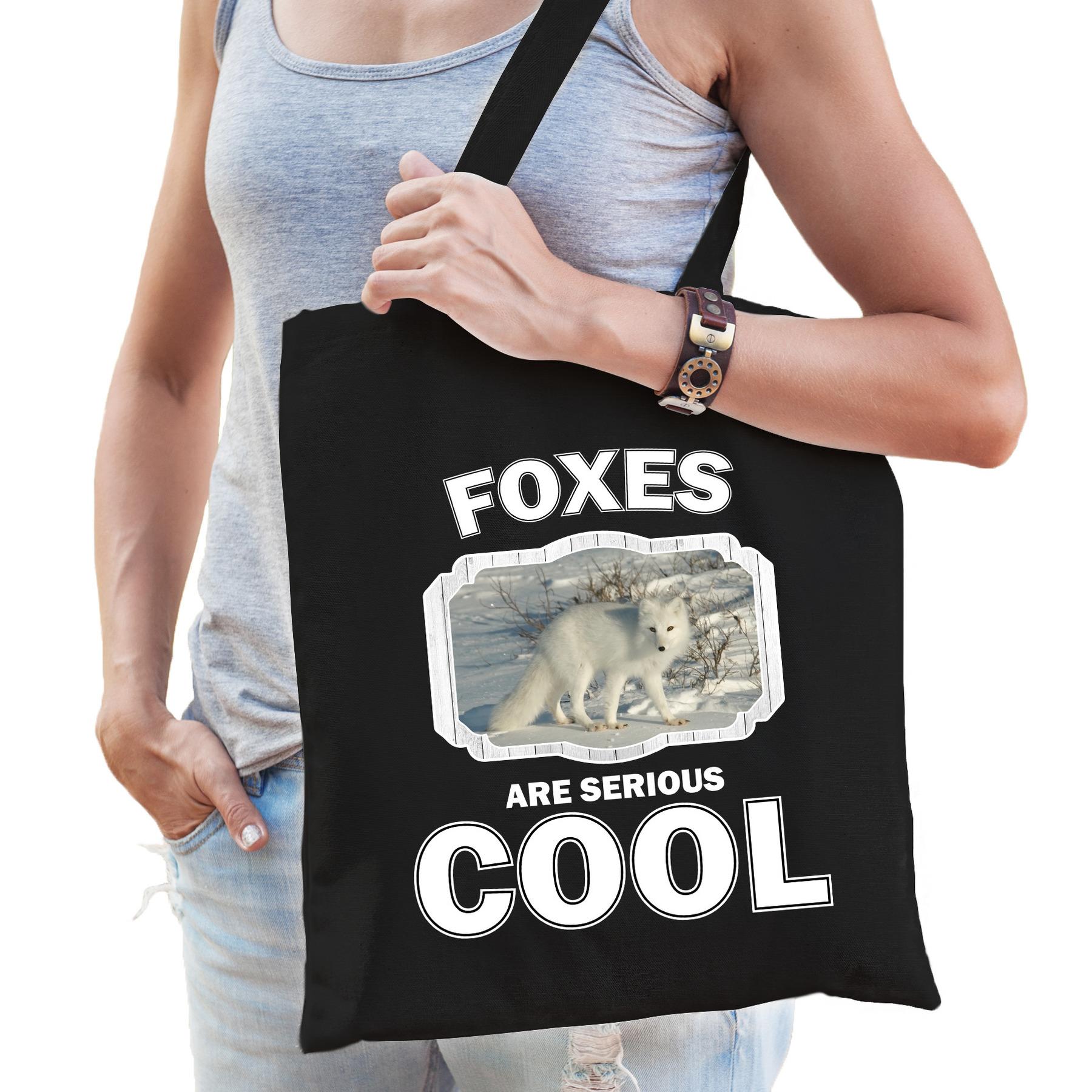Katoenen tasje foxes are serious cool zwart - vossen/ poolvos cadeau tas