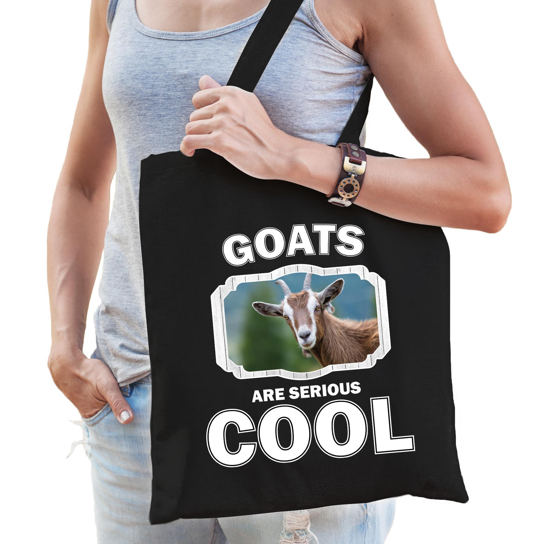 Katoenen tasje goats are serious cool zwart - geiten/ geit cadeau tas