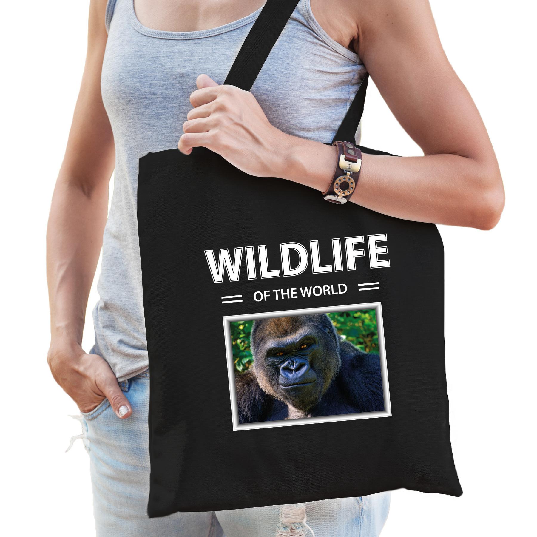 Katoenen tasje Gorilla apen zwart - wildlife of the world Aap cadeau tas