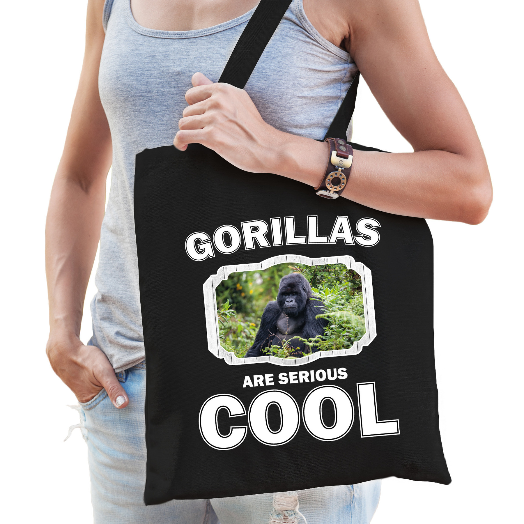 Katoenen tasje gorillas are serious cool zwart - gorilla apen/ gorilla cadeau tas