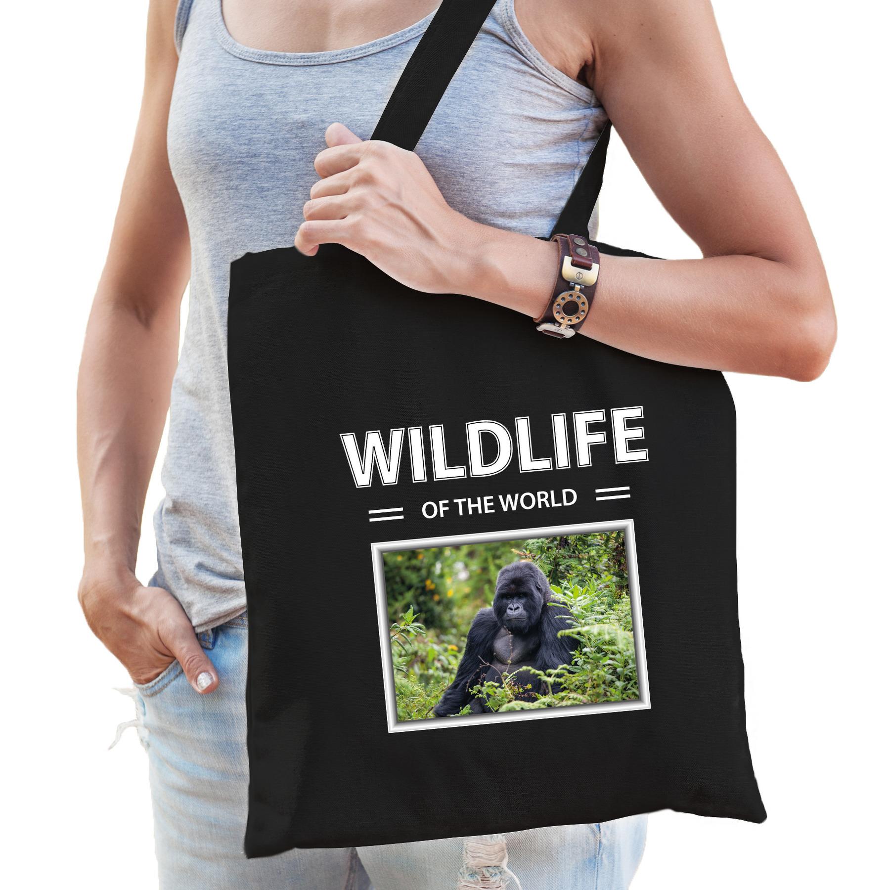 Katoenen tasje Gorillas zwart - wildlife of the world Gorilla aap cadeau tas