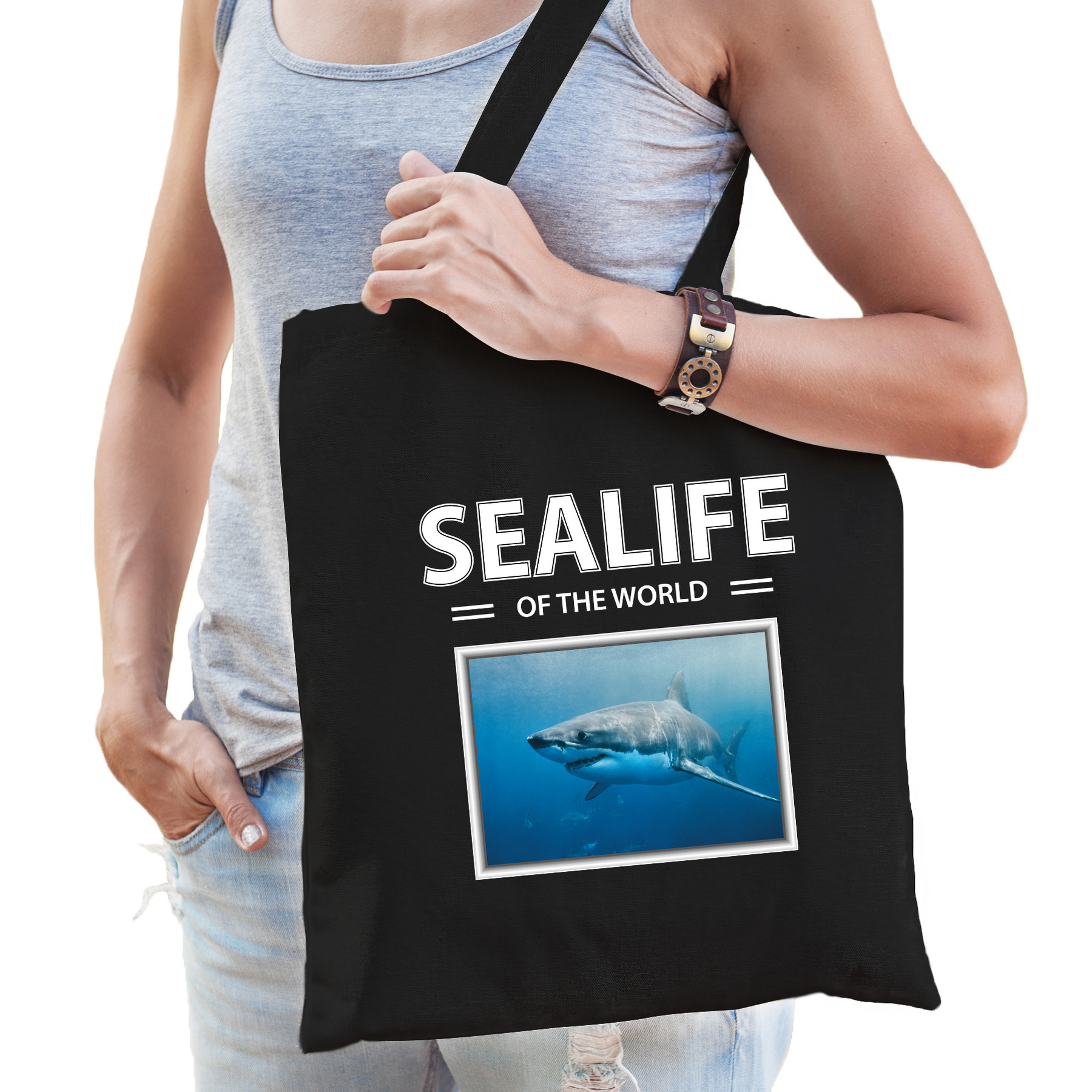 Katoenen tasje Haai zwart - sealife of the world Haaien cadeau tas