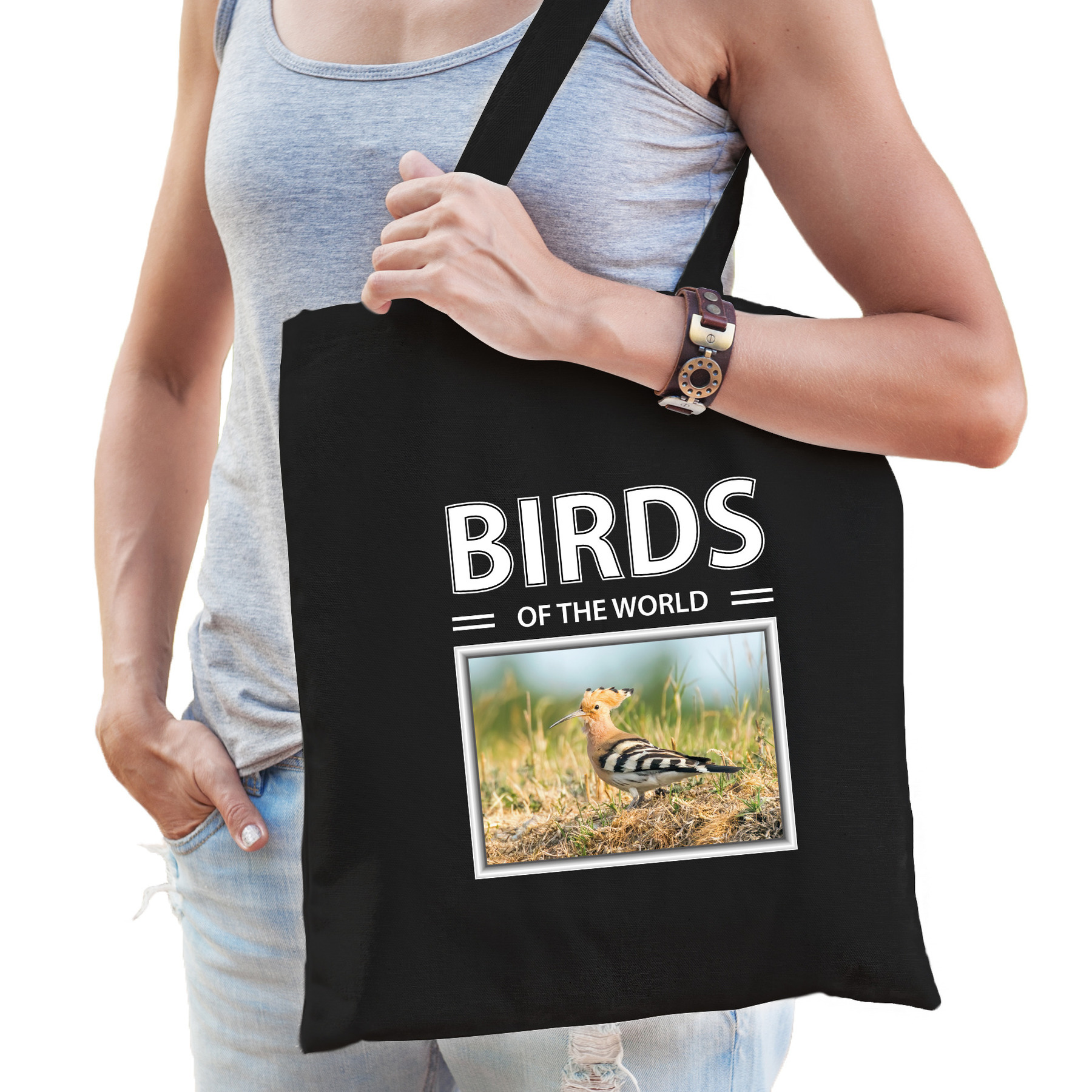 Katoenen tasje Hop vogels zwart - birds of the world Hop cadeau tas
