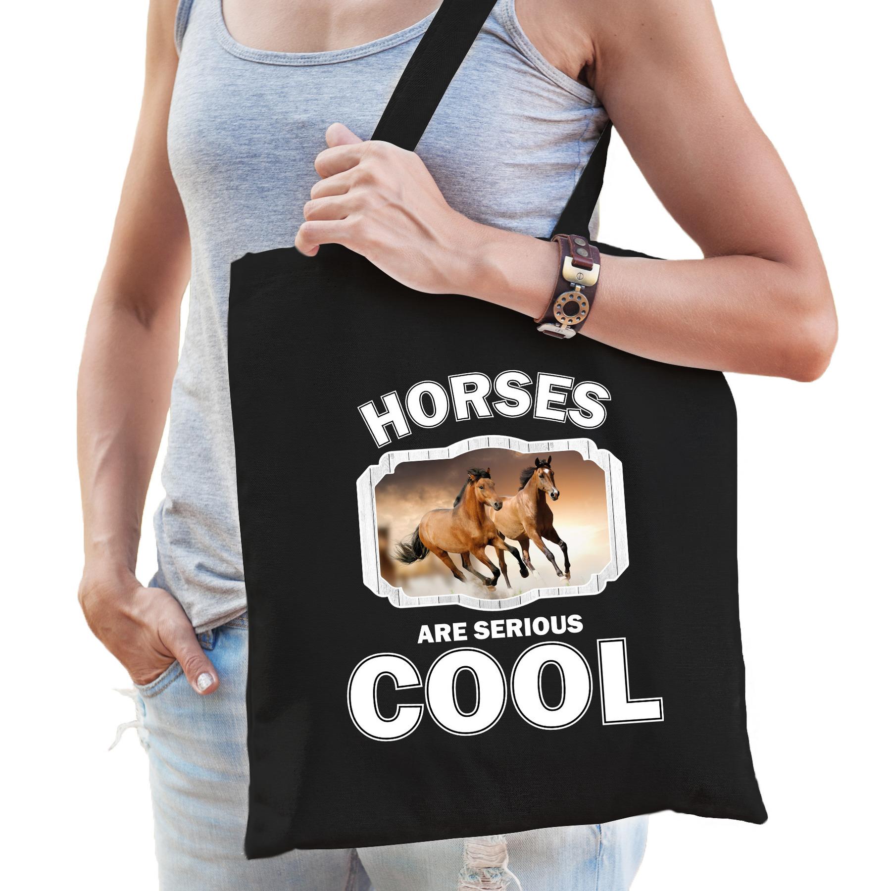 Katoenen tasje horses are serious cool zwart - paarden/ bruin paard cadeau tas