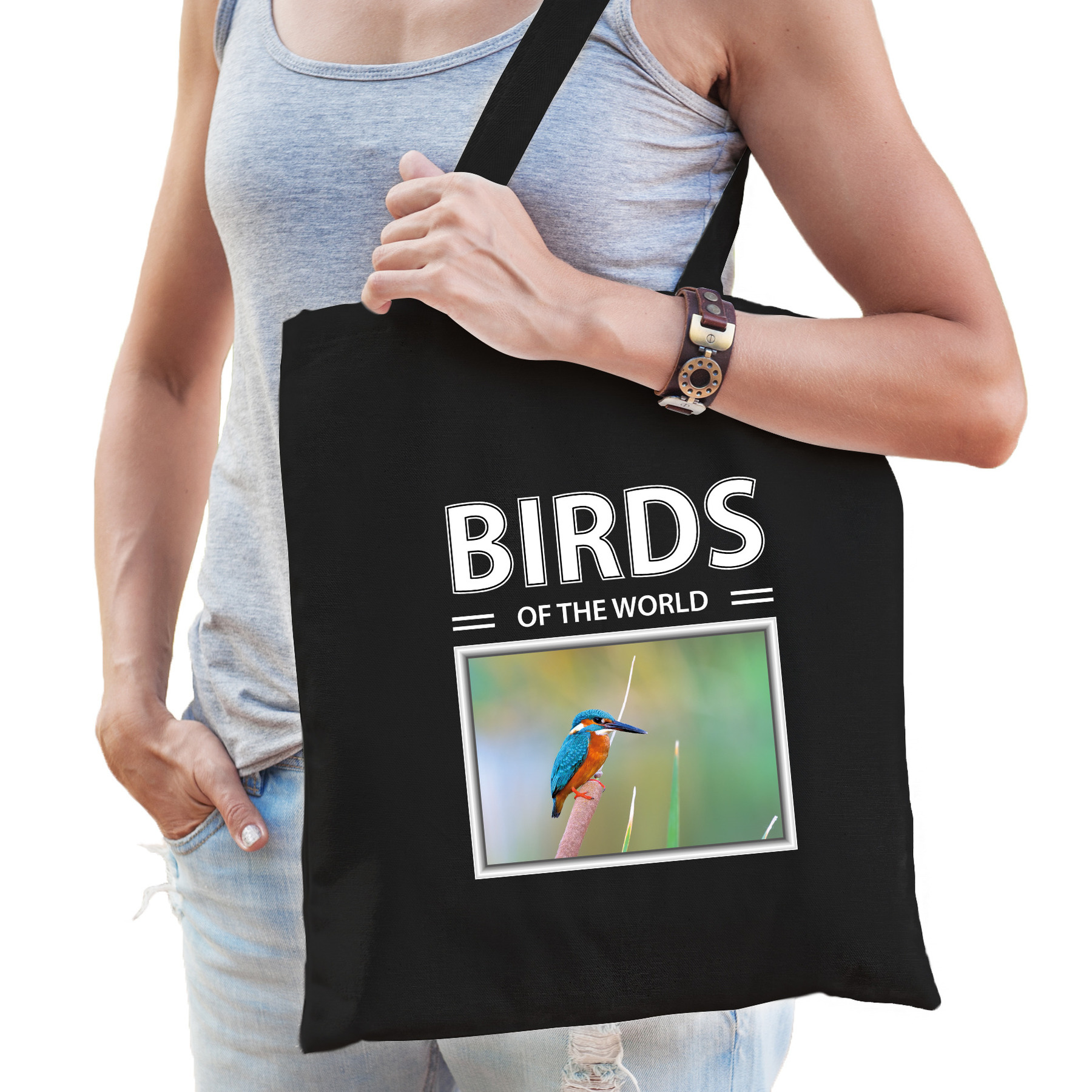 Katoenen tasje Ijsvogels zwart - birds of the world Ijsvogel cadeau tas