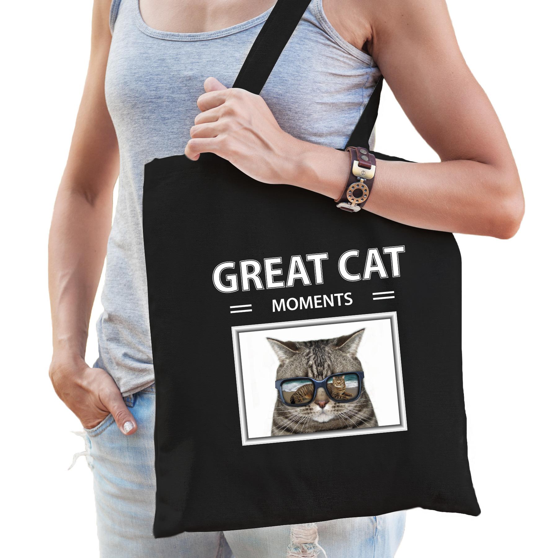 Katoenen tasje Katten zwart - great cat moments Katten cadeau tas
