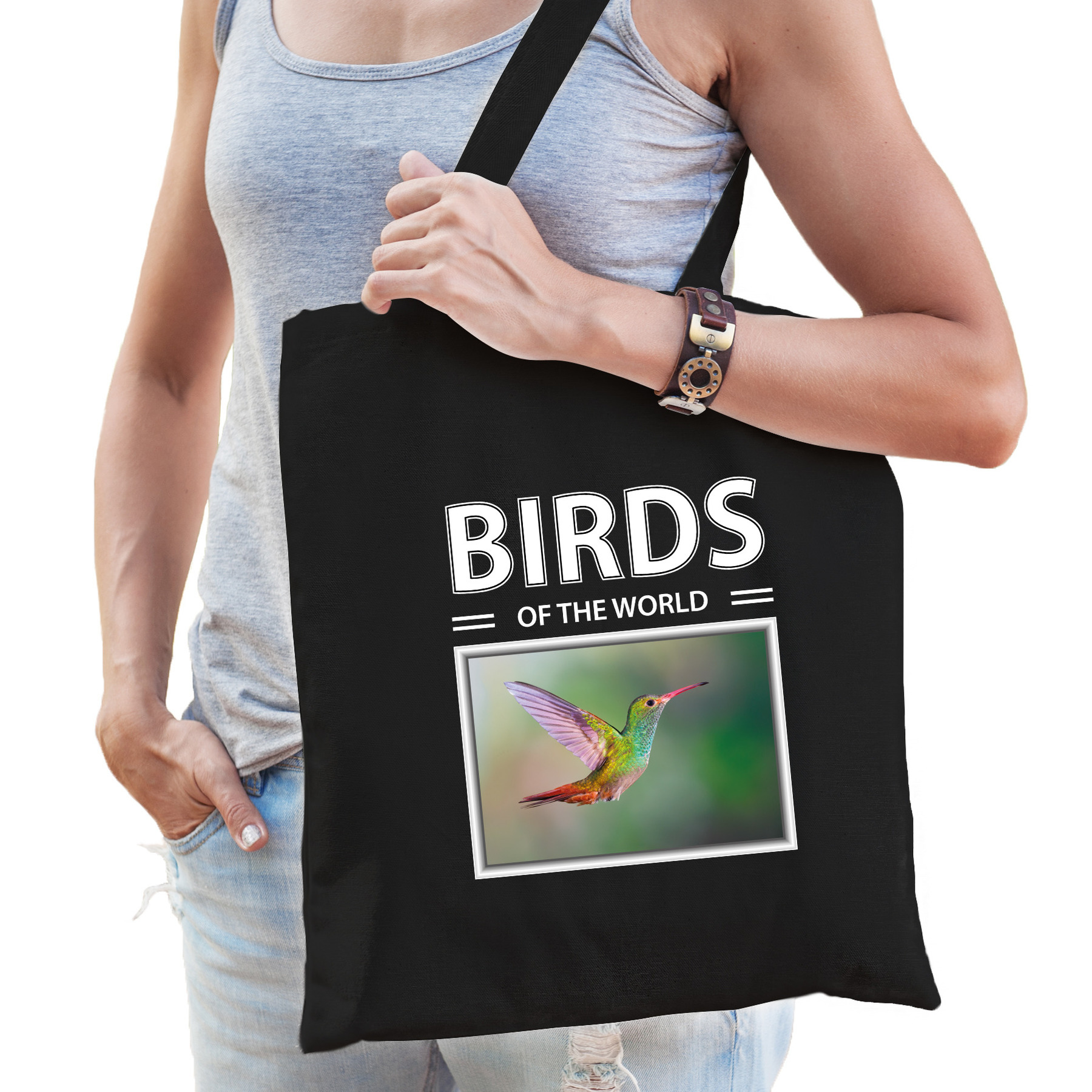 Katoenen tasje Kolibries vogels zwart - birds of the world Kolibrie cadeau tas