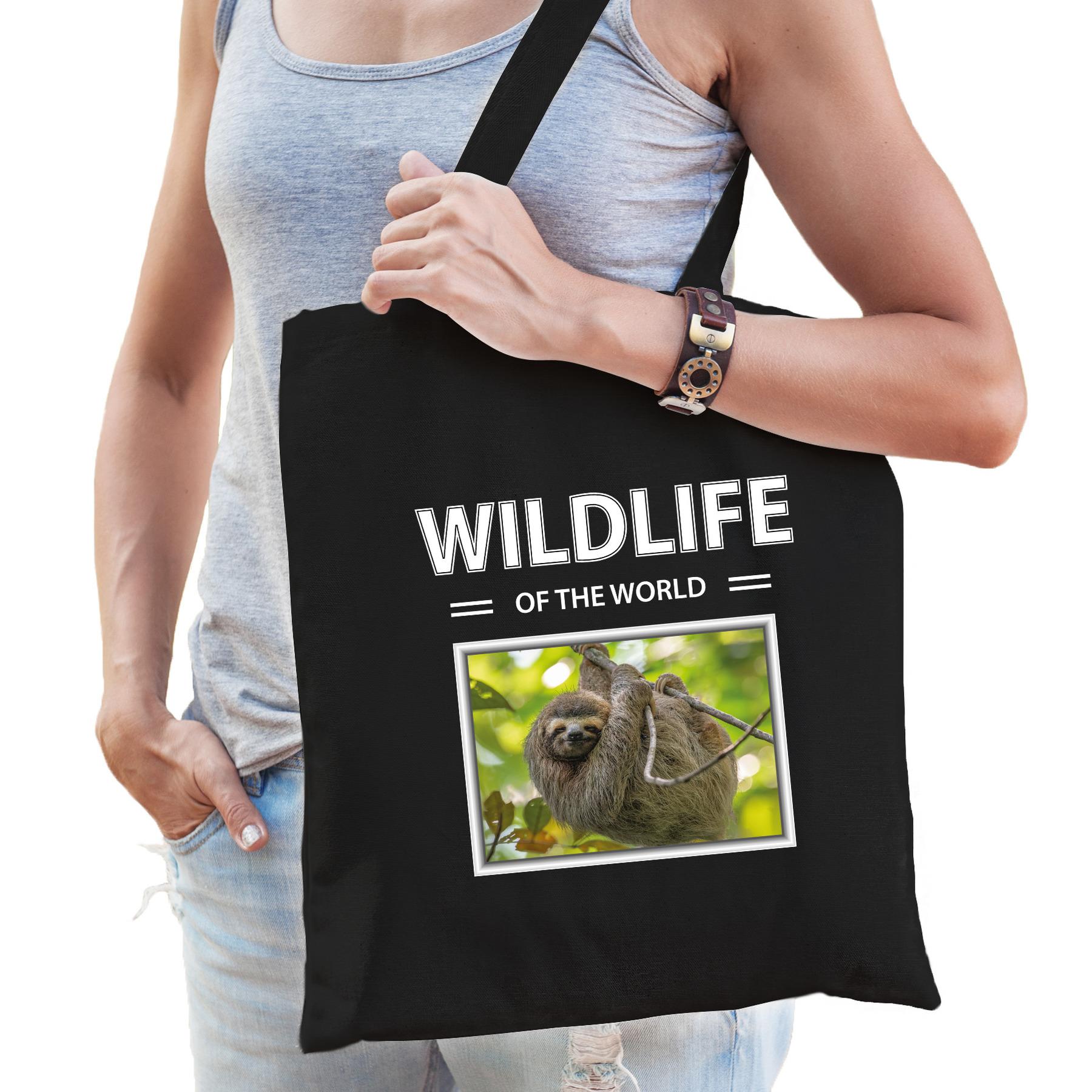 Katoenen tasje Luiaarden zwart - wildlife of the world Luiaard cadeau tas