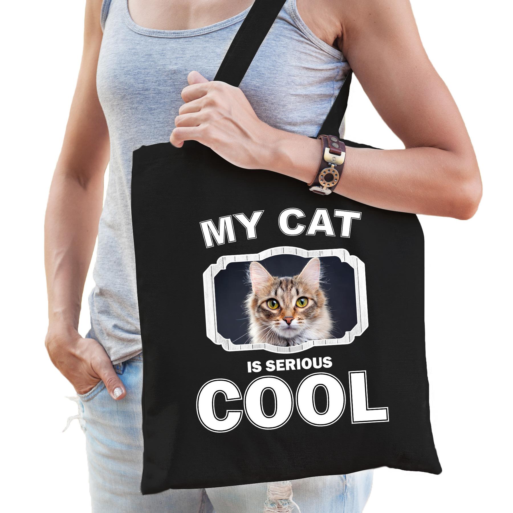 Katoenen tasje my cat is serious cool zwart - Bruine katten - katten cadeau tas