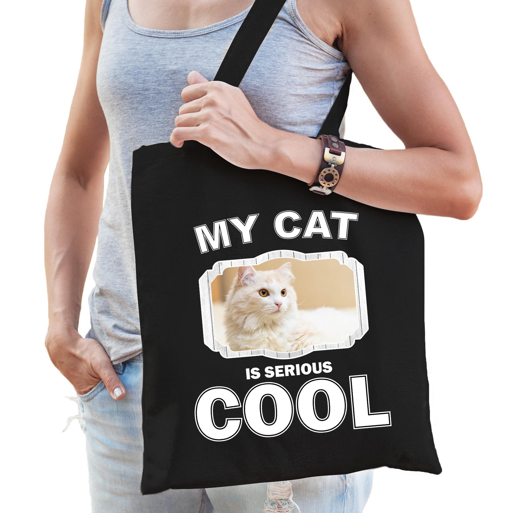 Katoenen tasje my cat is serious cool zwart - Witte katten - katten cadeau tas