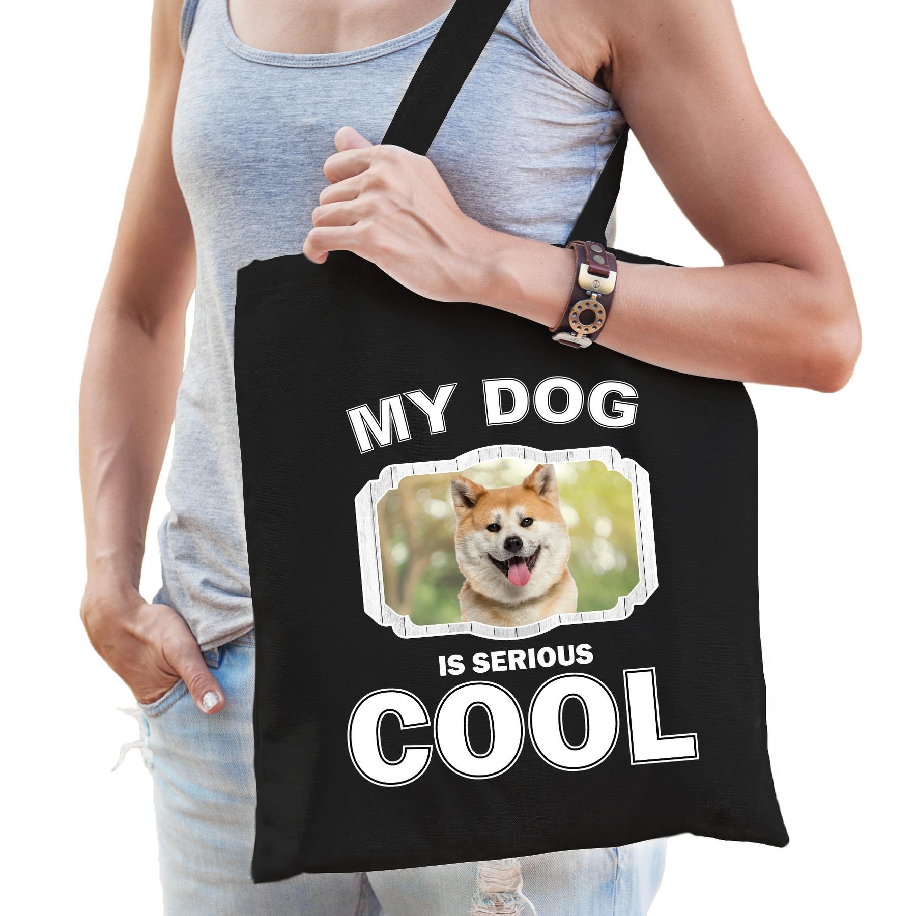 Katoenen tasje my dog is serious cool zwart - Akita inu honden cadeau tas