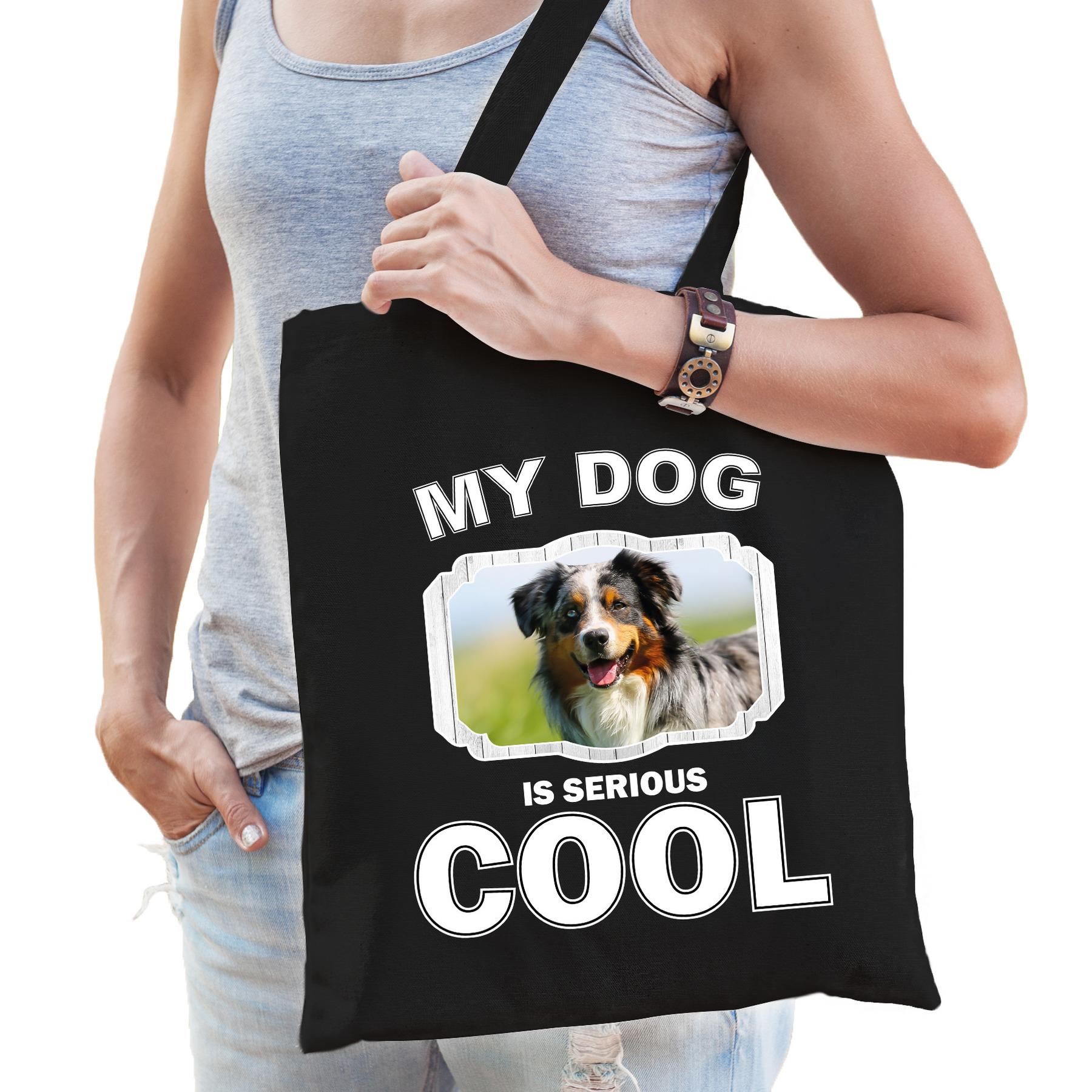 Katoenen tasje my dog is serious cool zwart - Australische herder honden cadeau tas